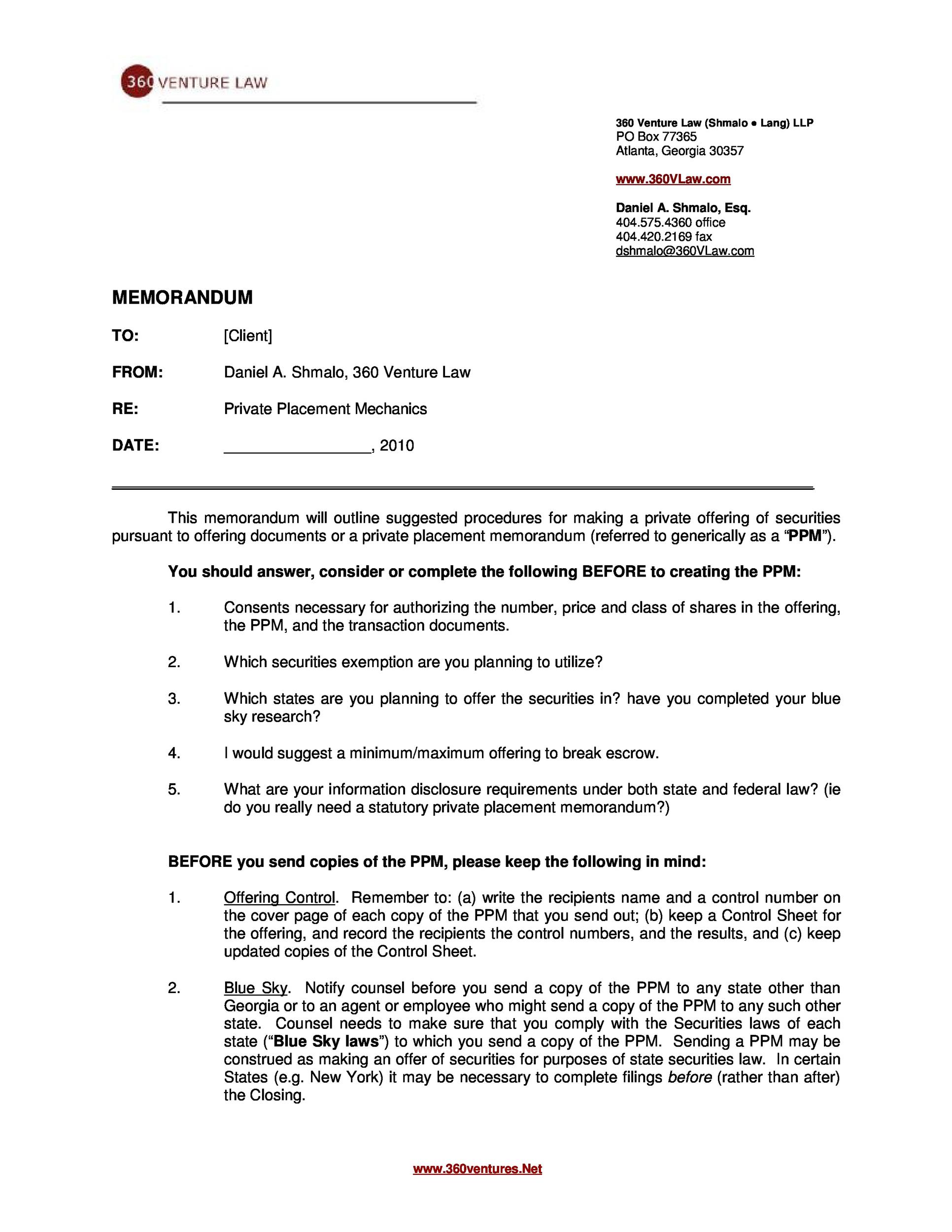 private placement memorandum template 20