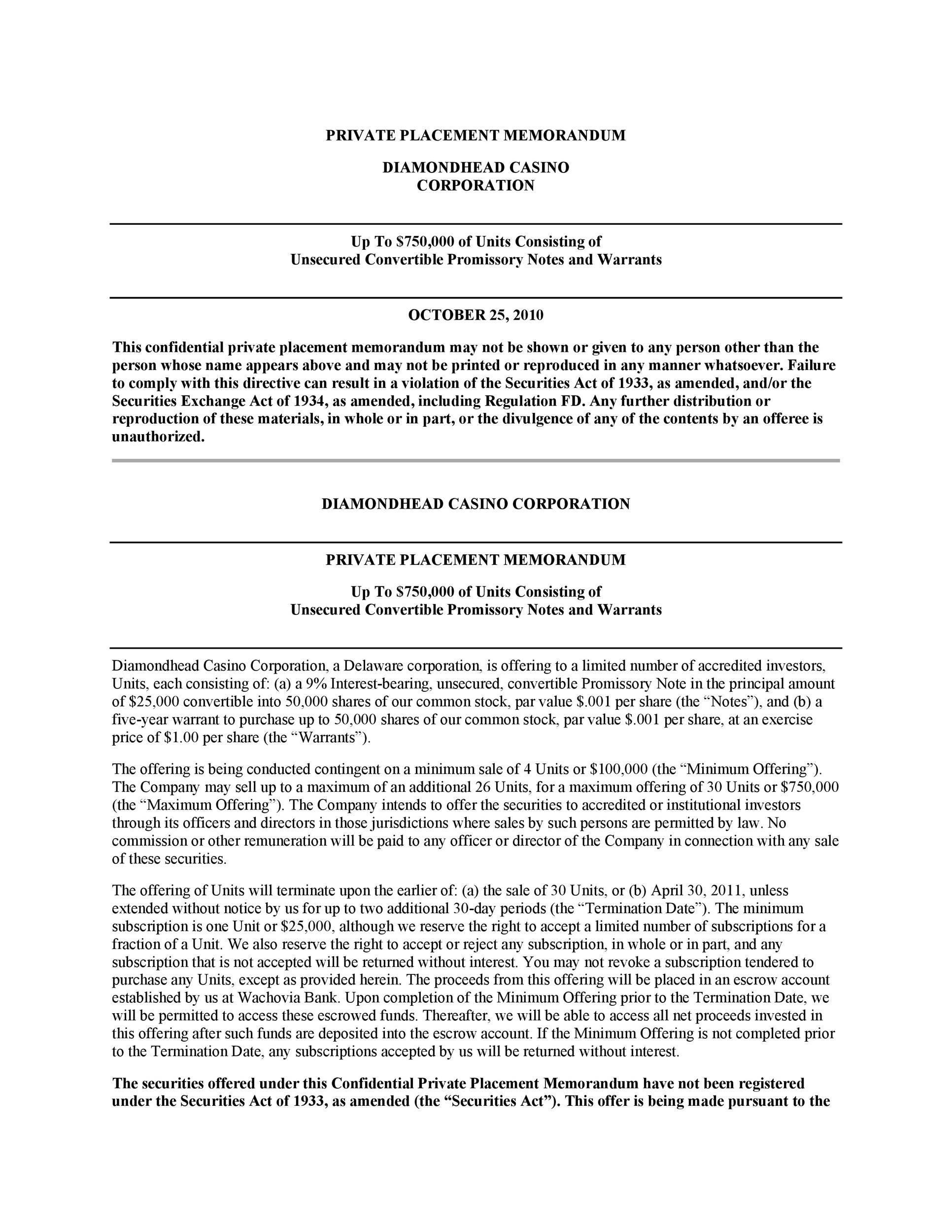 Free private placement memorandum template 22