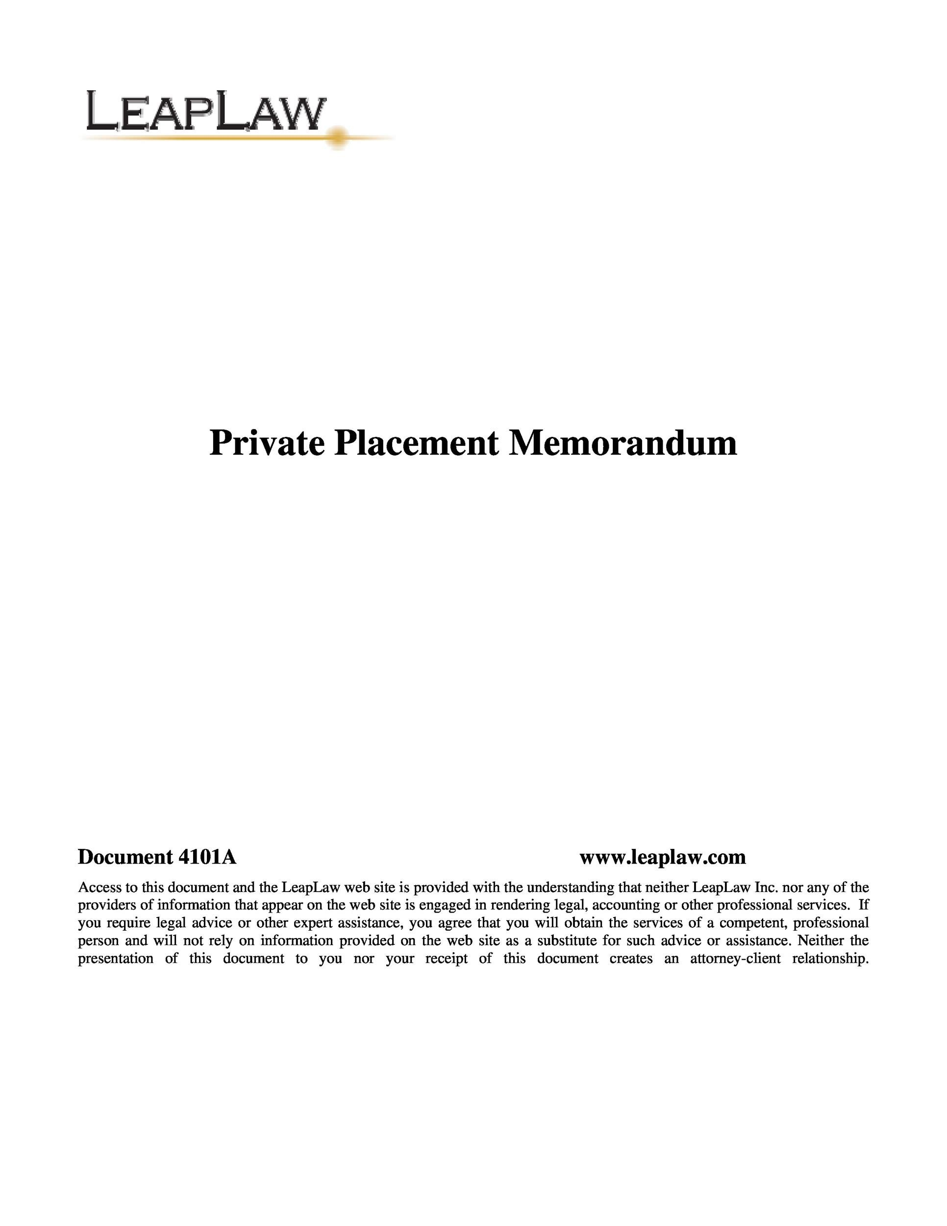 Private Placement Memorandum Templates Word Pdf