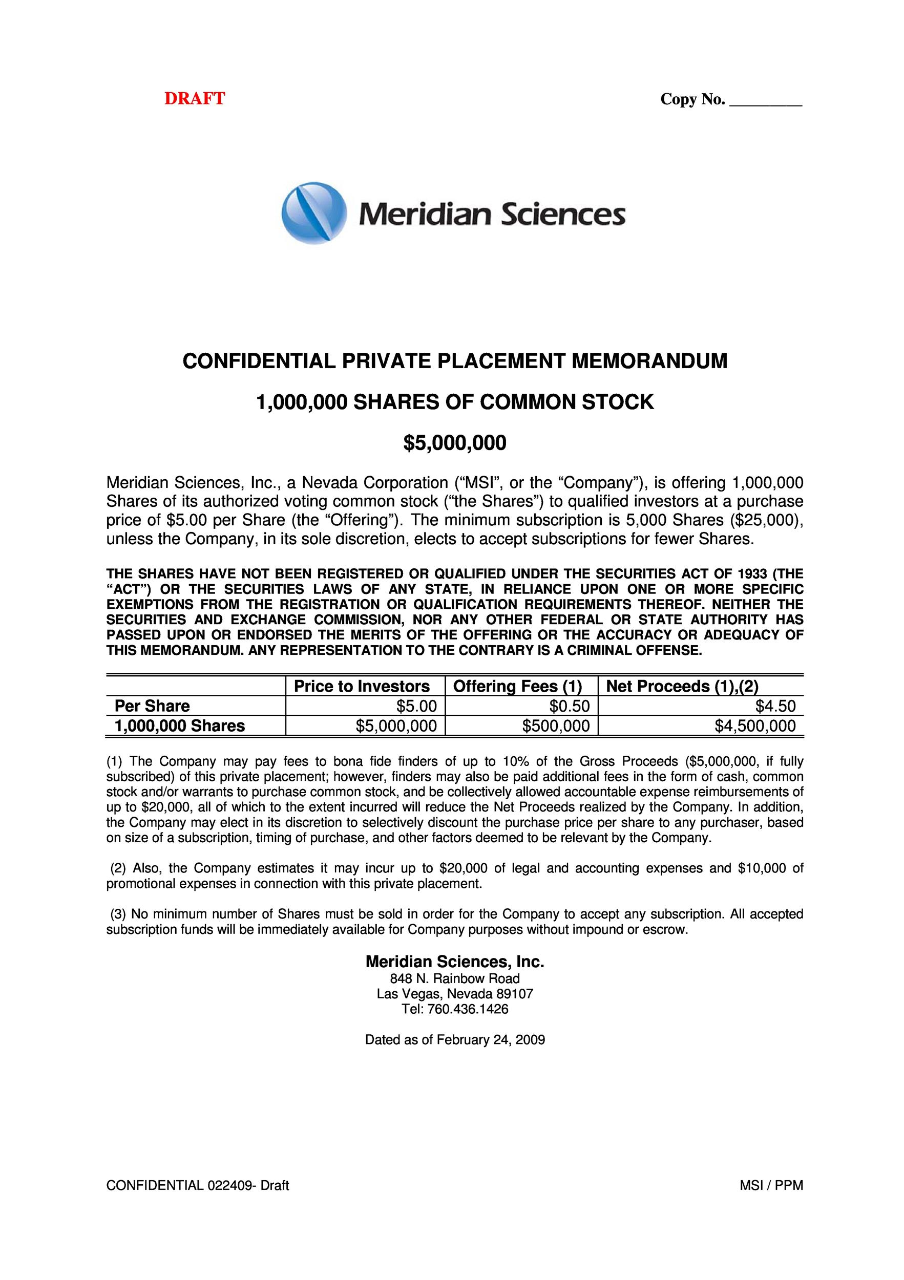 40 Private Placement Memorandum Templates Word PDF – Confidential Memo Template