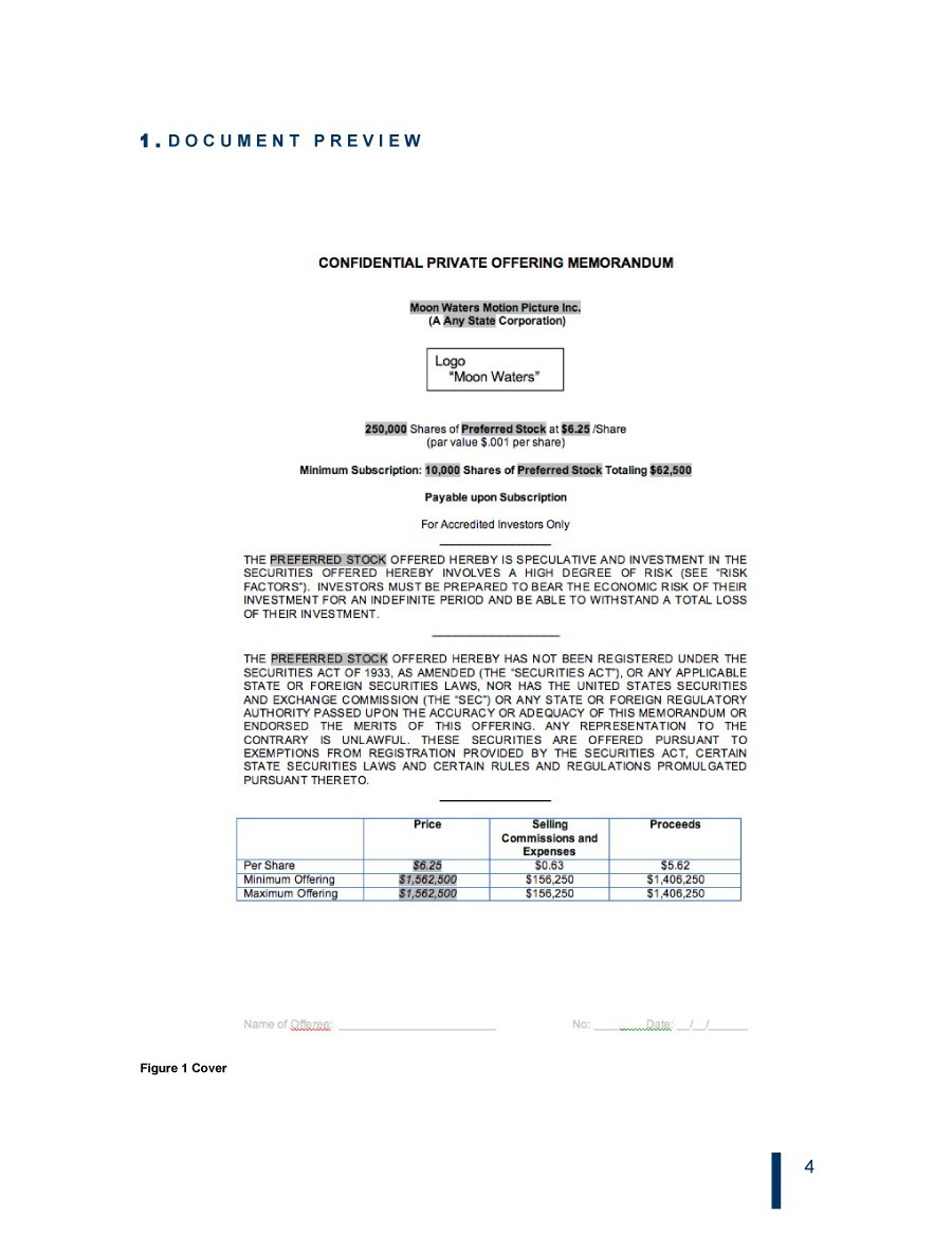 Private Placement Memorandum Templates Word PDF - Offering memorandum template