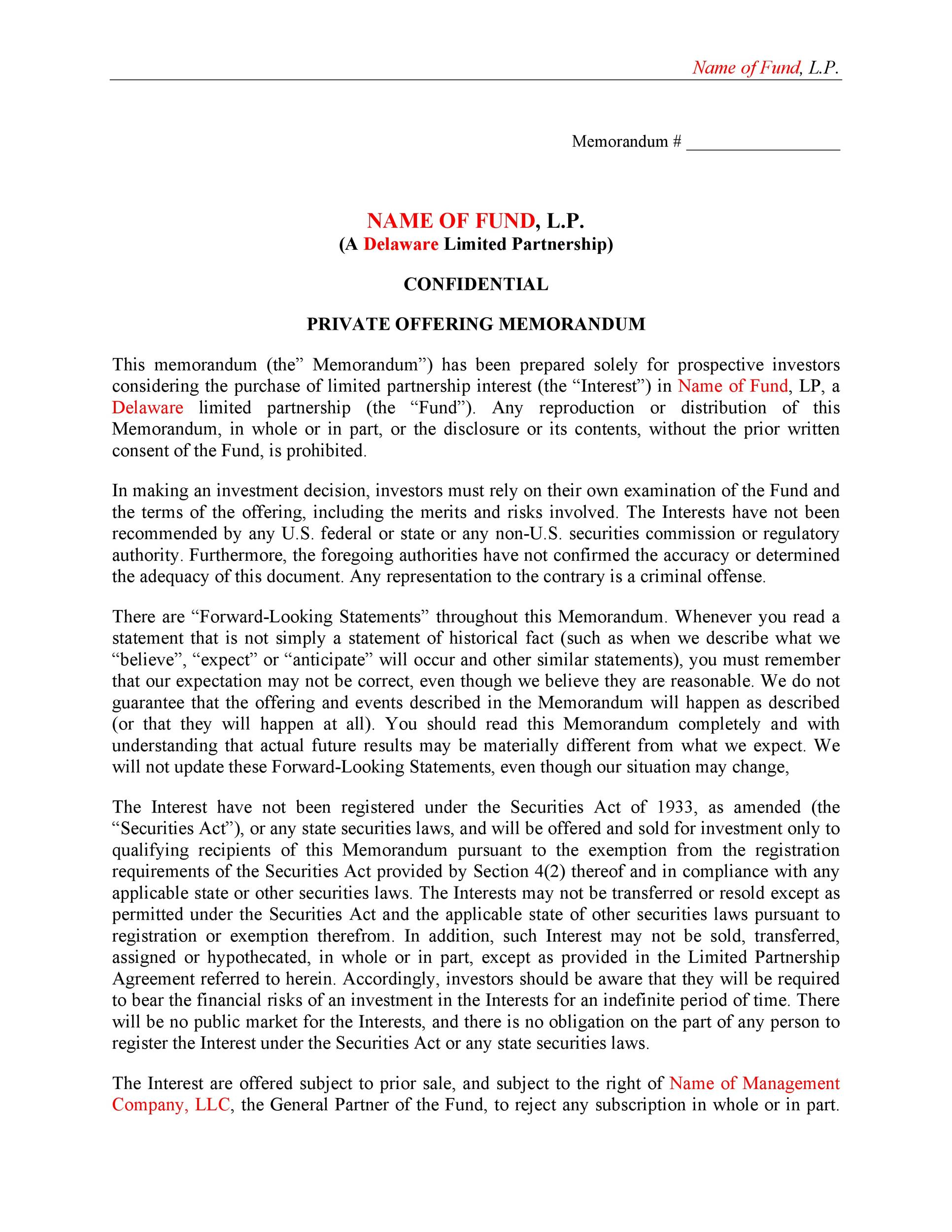 Free private placement memorandum template 29