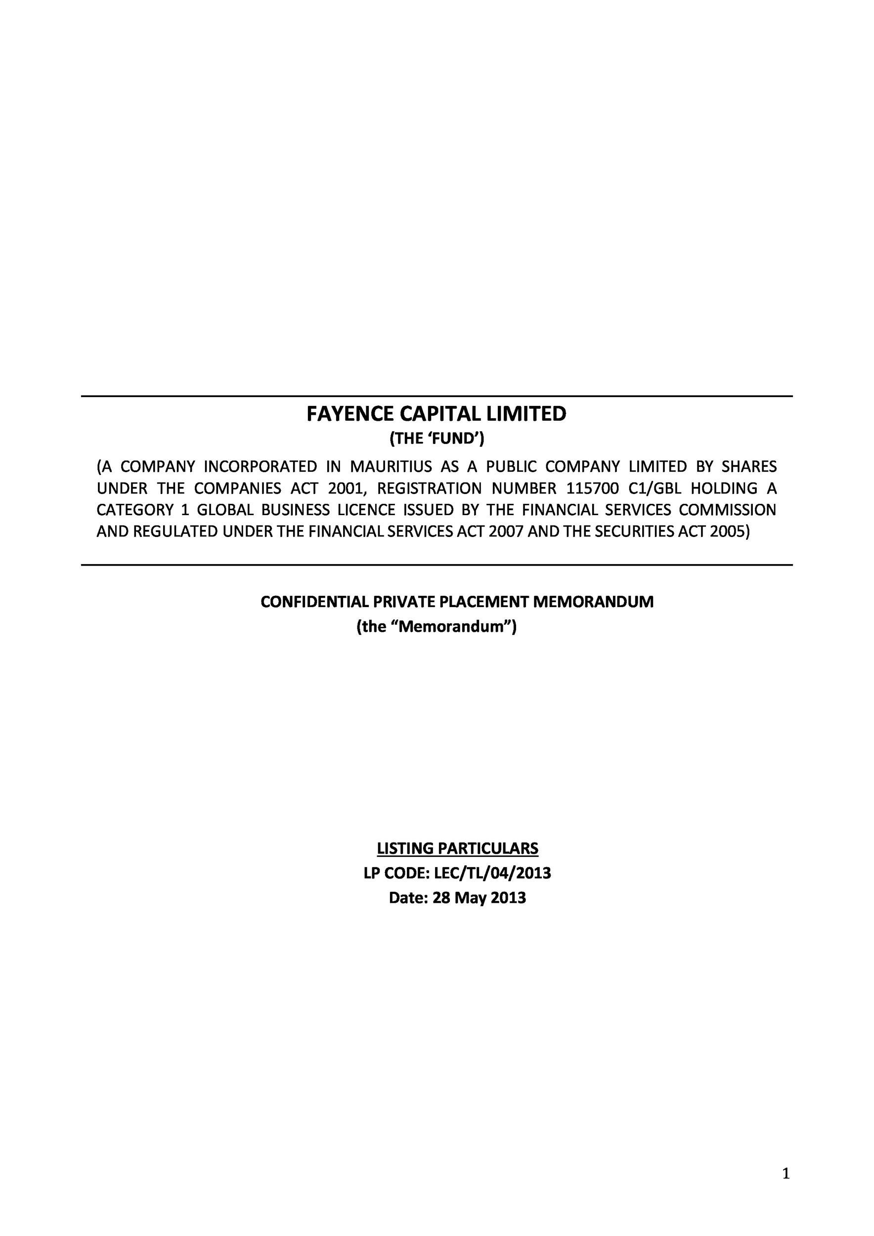 private placement memorandum template 30