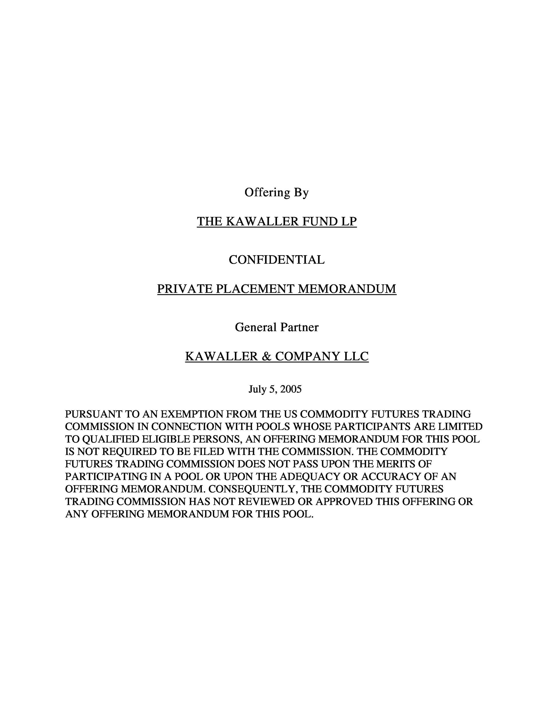 private placement memorandum template 35