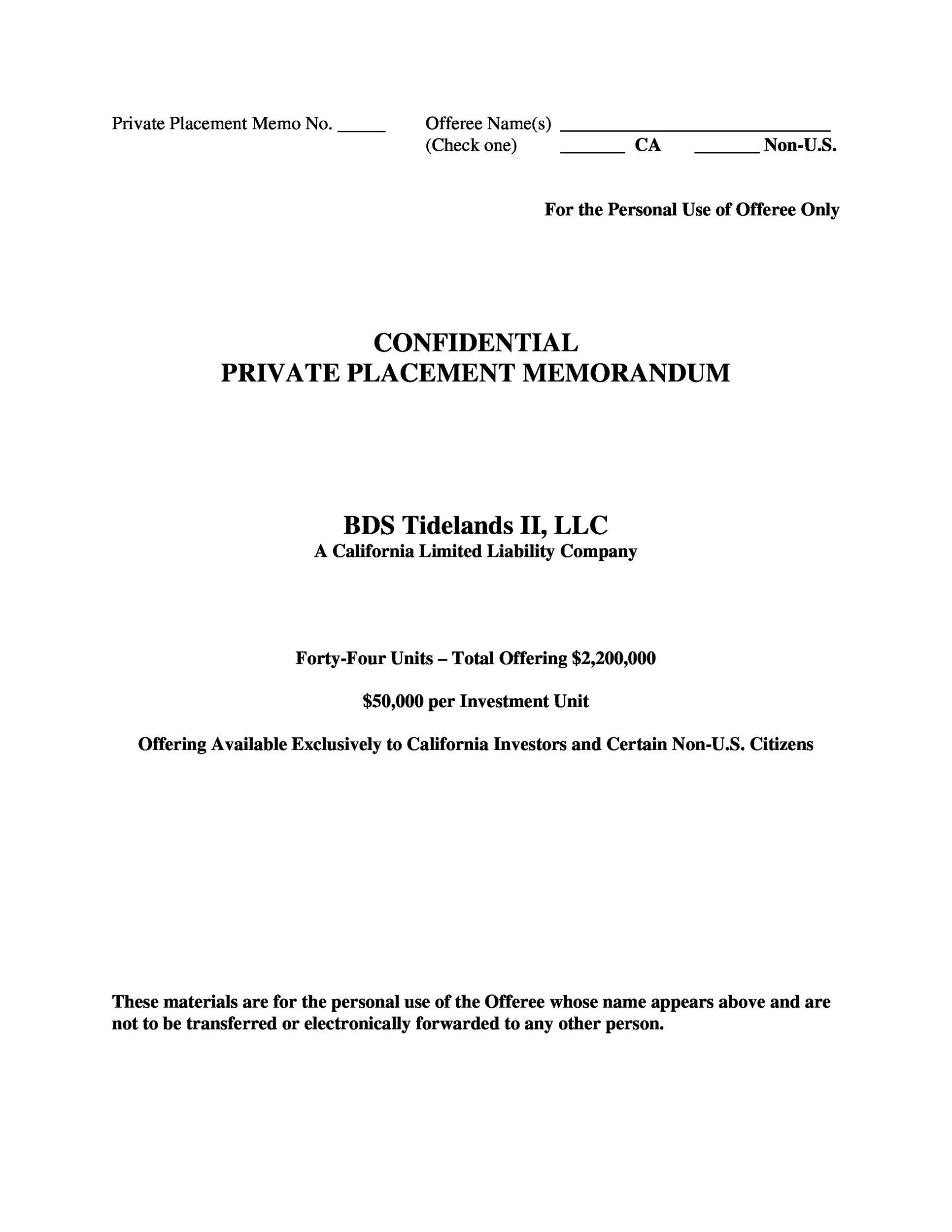 Free private placement memorandum template 36