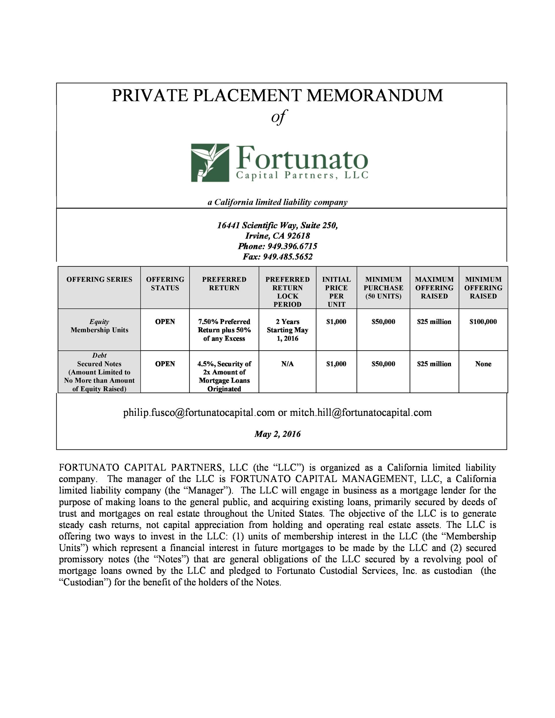 Free private placement memorandum template 37