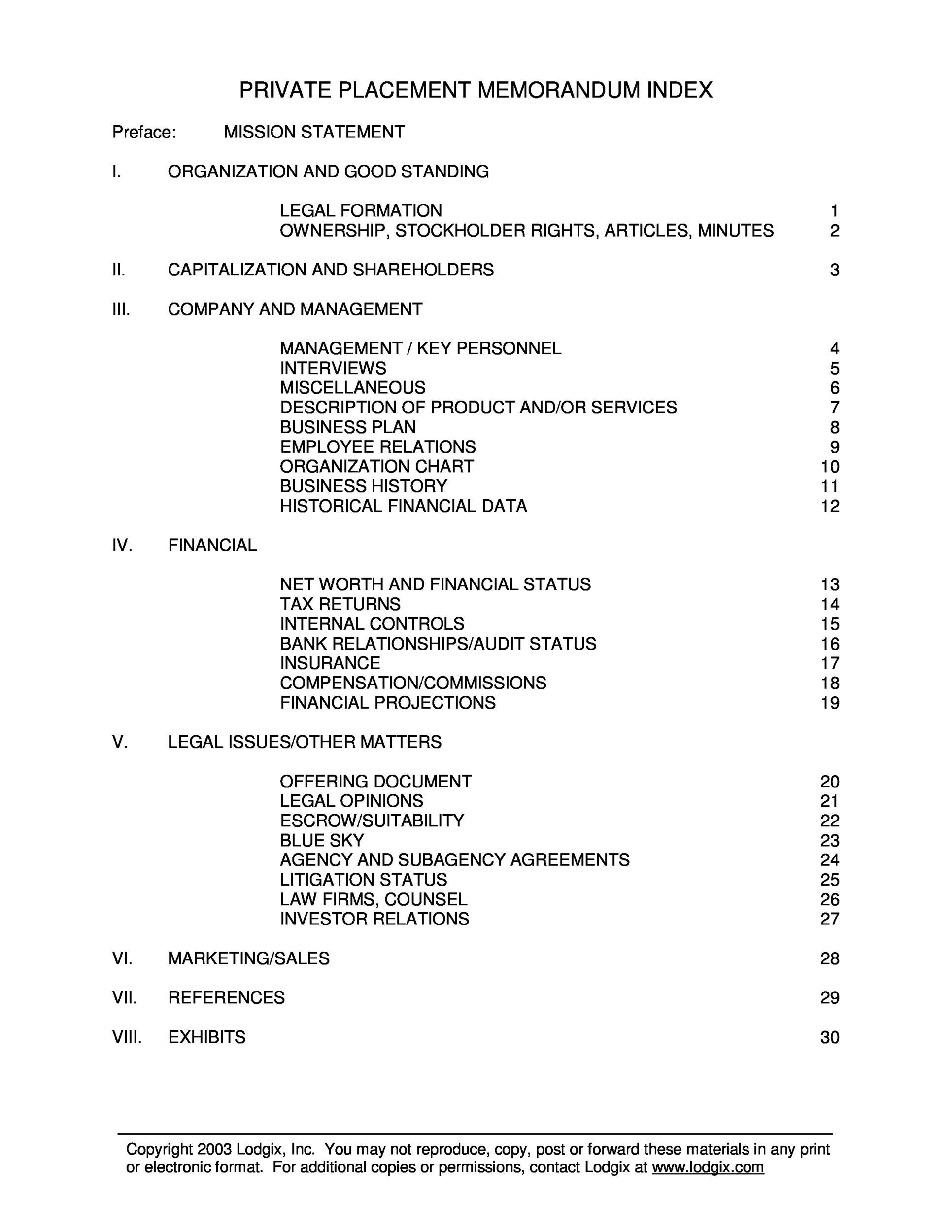 Free private placement memorandum template 39