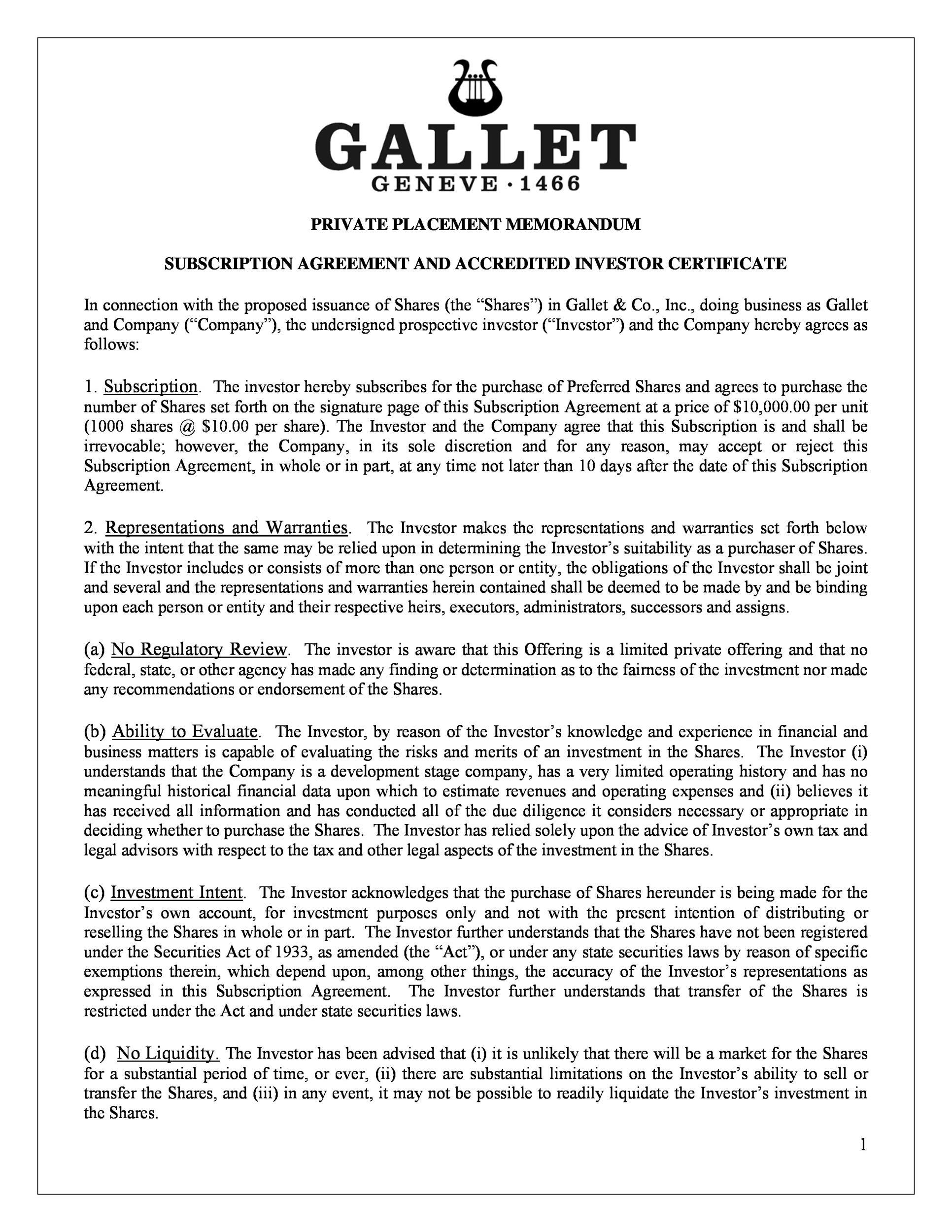 Free private placement memorandum template 41