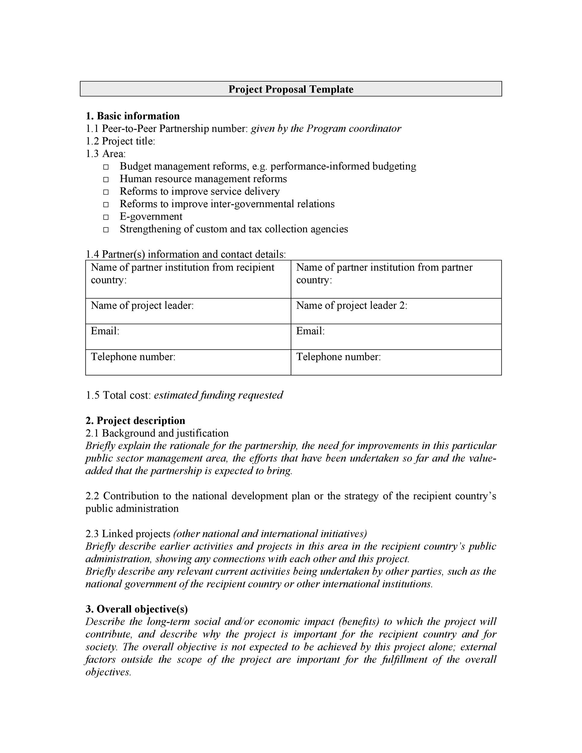 Printable Project Proposal Template 01  Proposals Templates