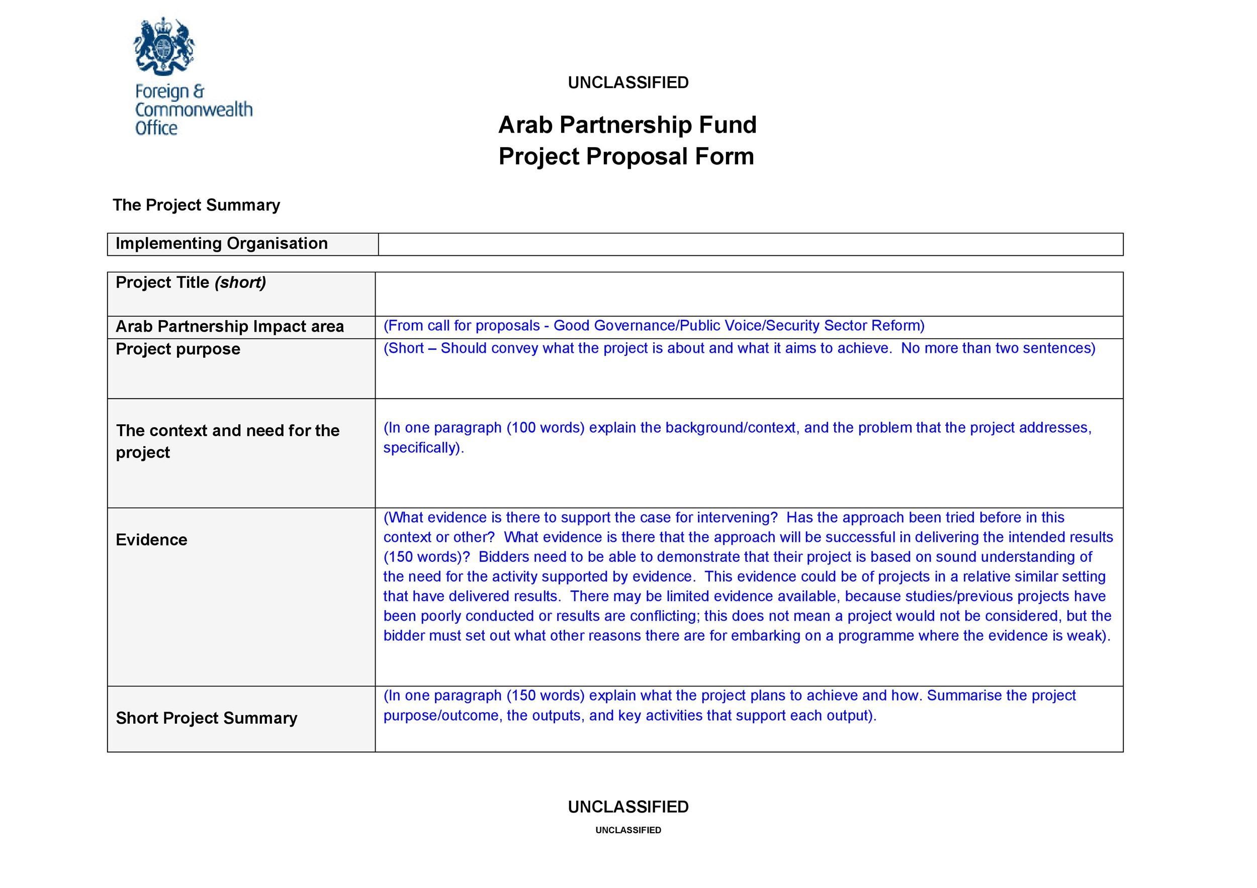 Printable Project Proposal Template 09  Proposal Form Template