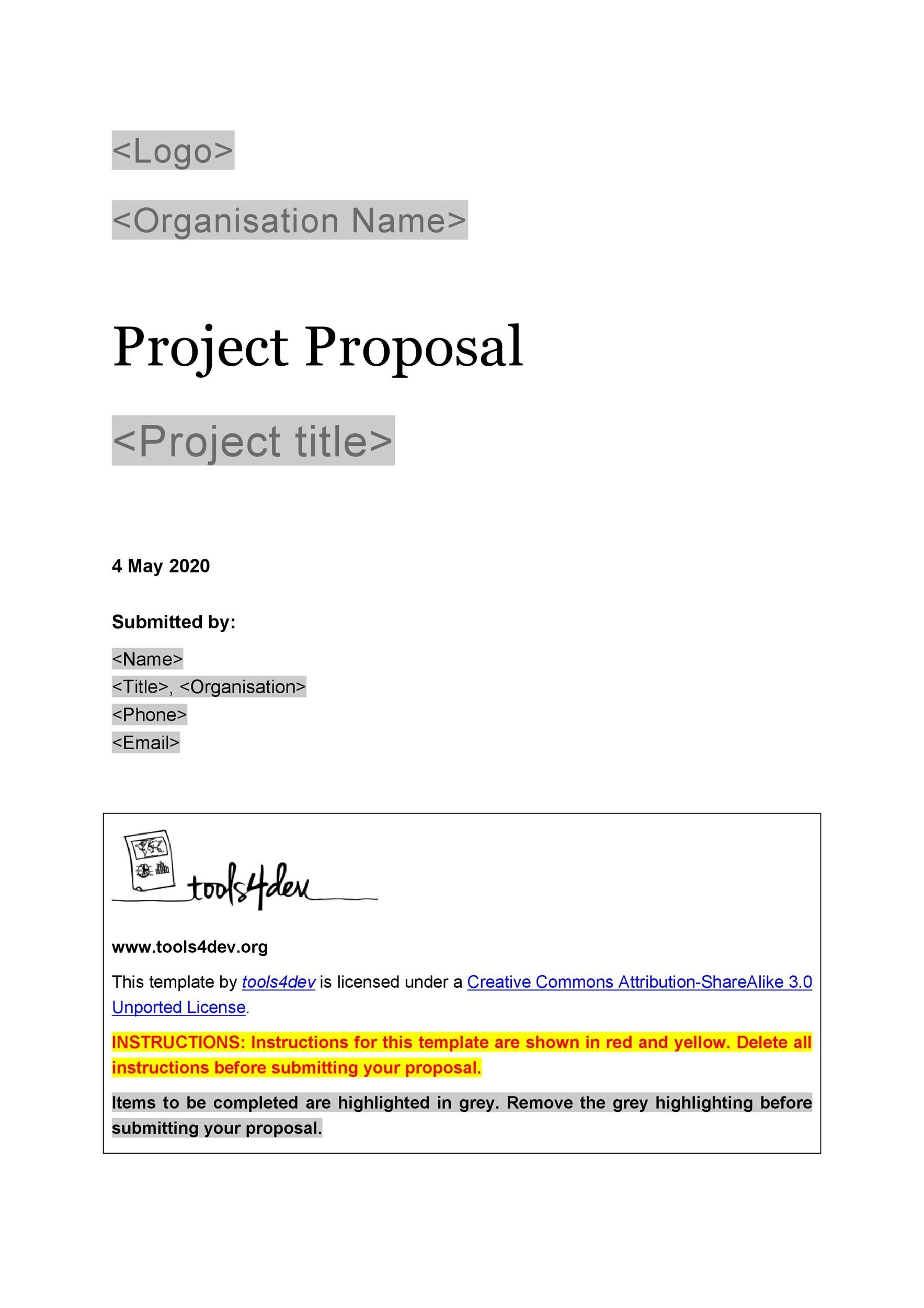 Printable Project Proposal Template 11
