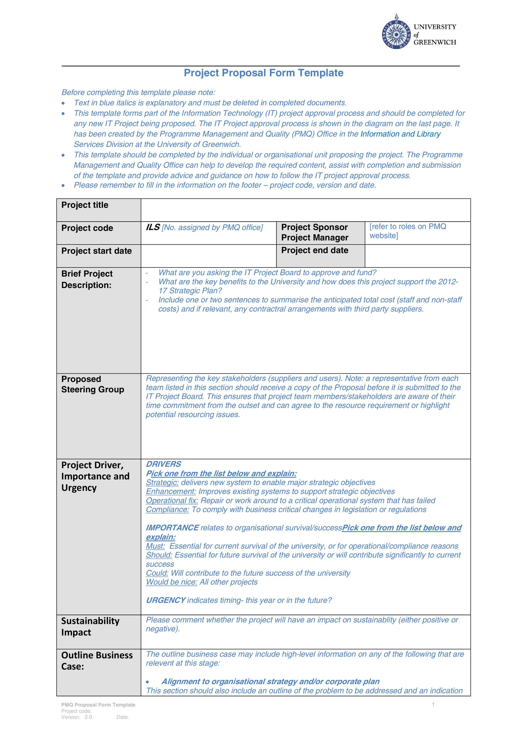 Printable Project Proposal Template 19  Business Project Proposal Template