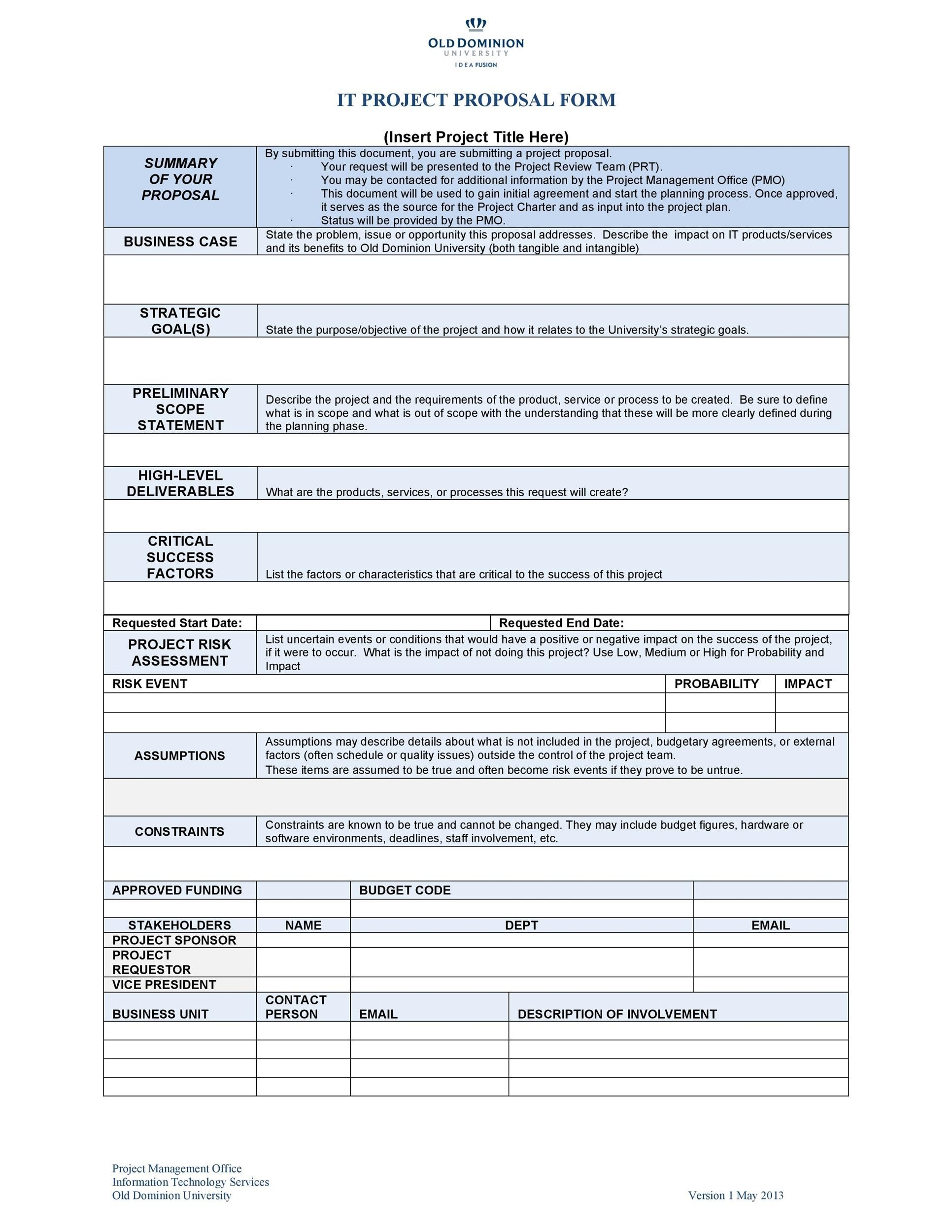 Printable Project Proposal Template 21