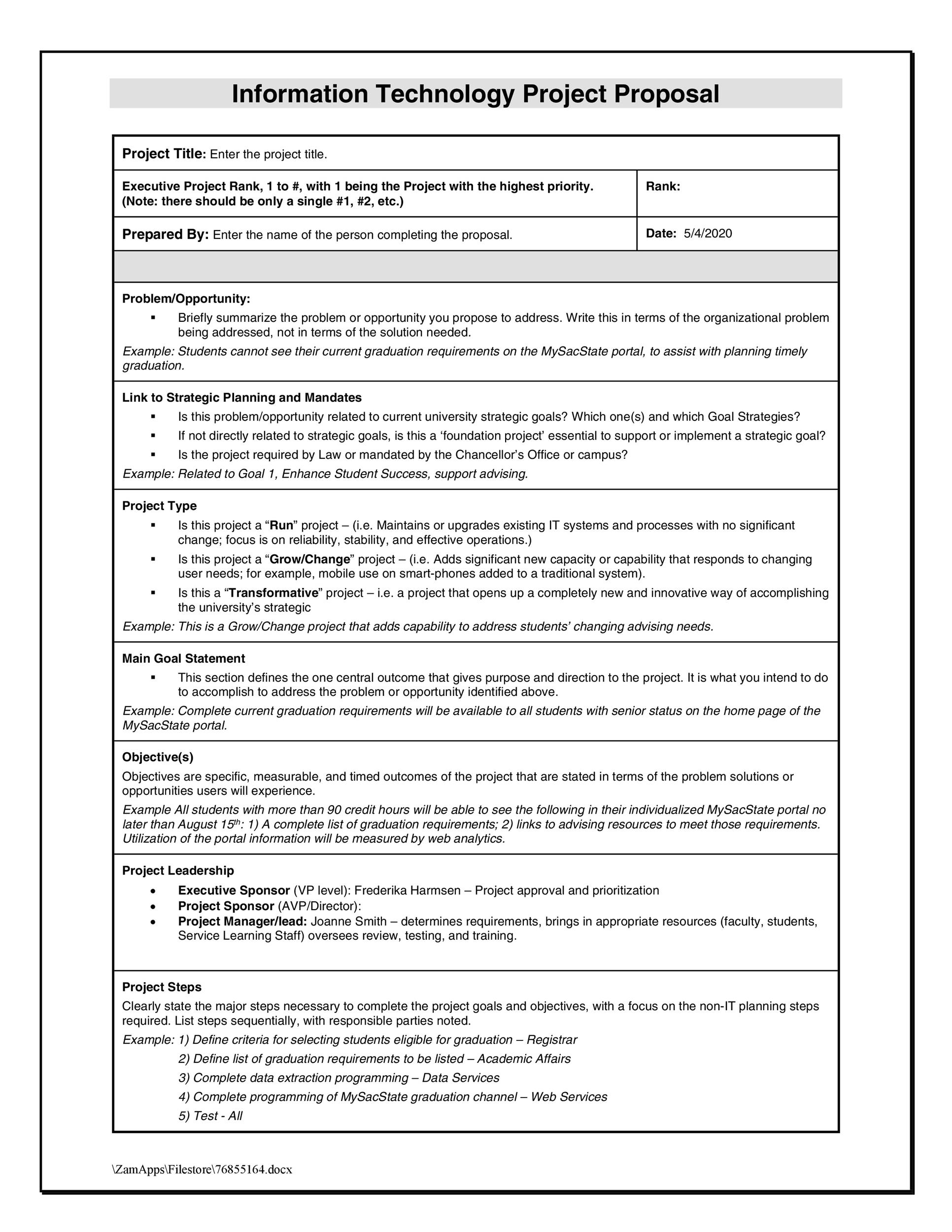 Strategic Planning Proposal Template Vosvetenet – Informal Proposal Format