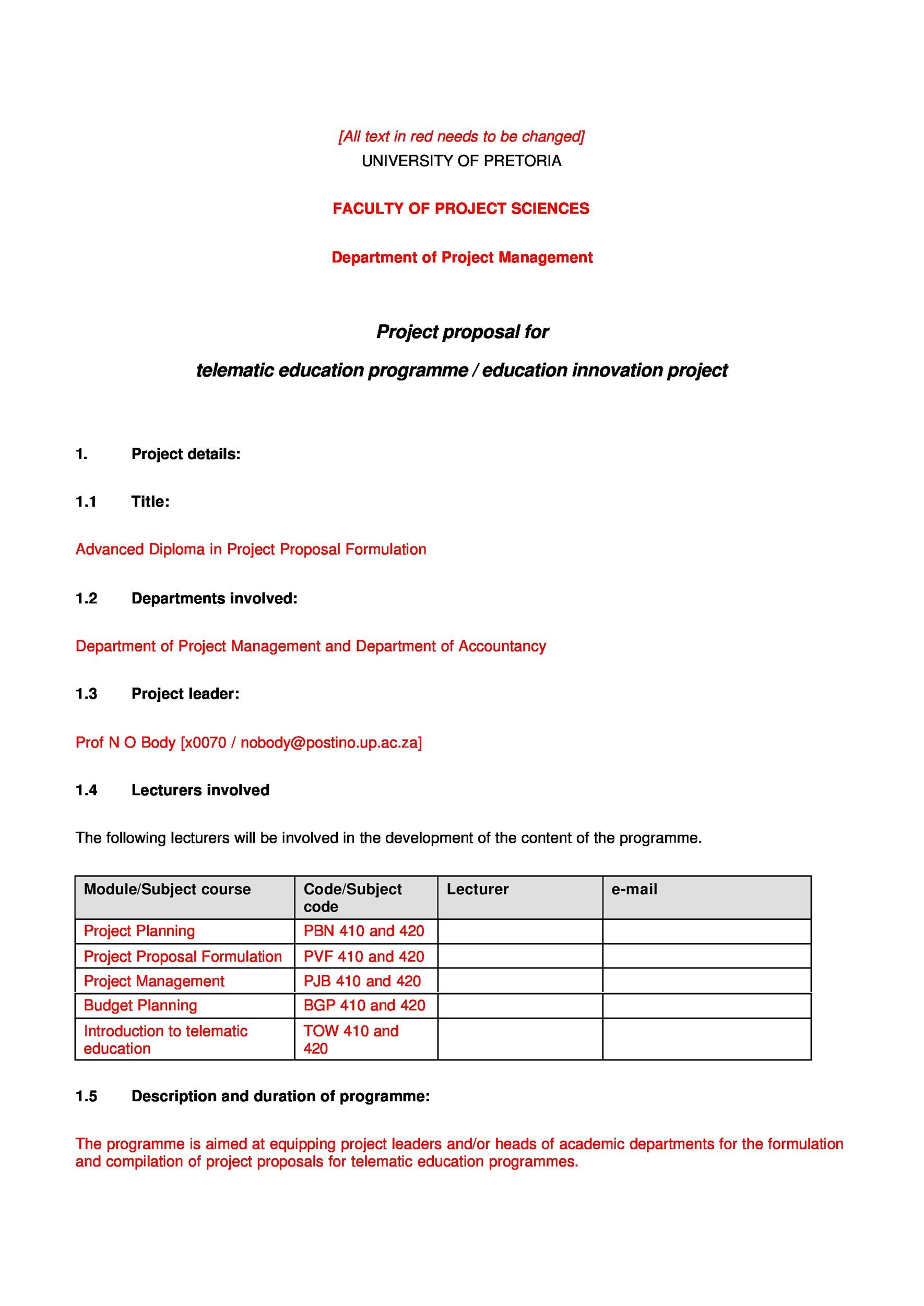 Free Project Proposal Template 31