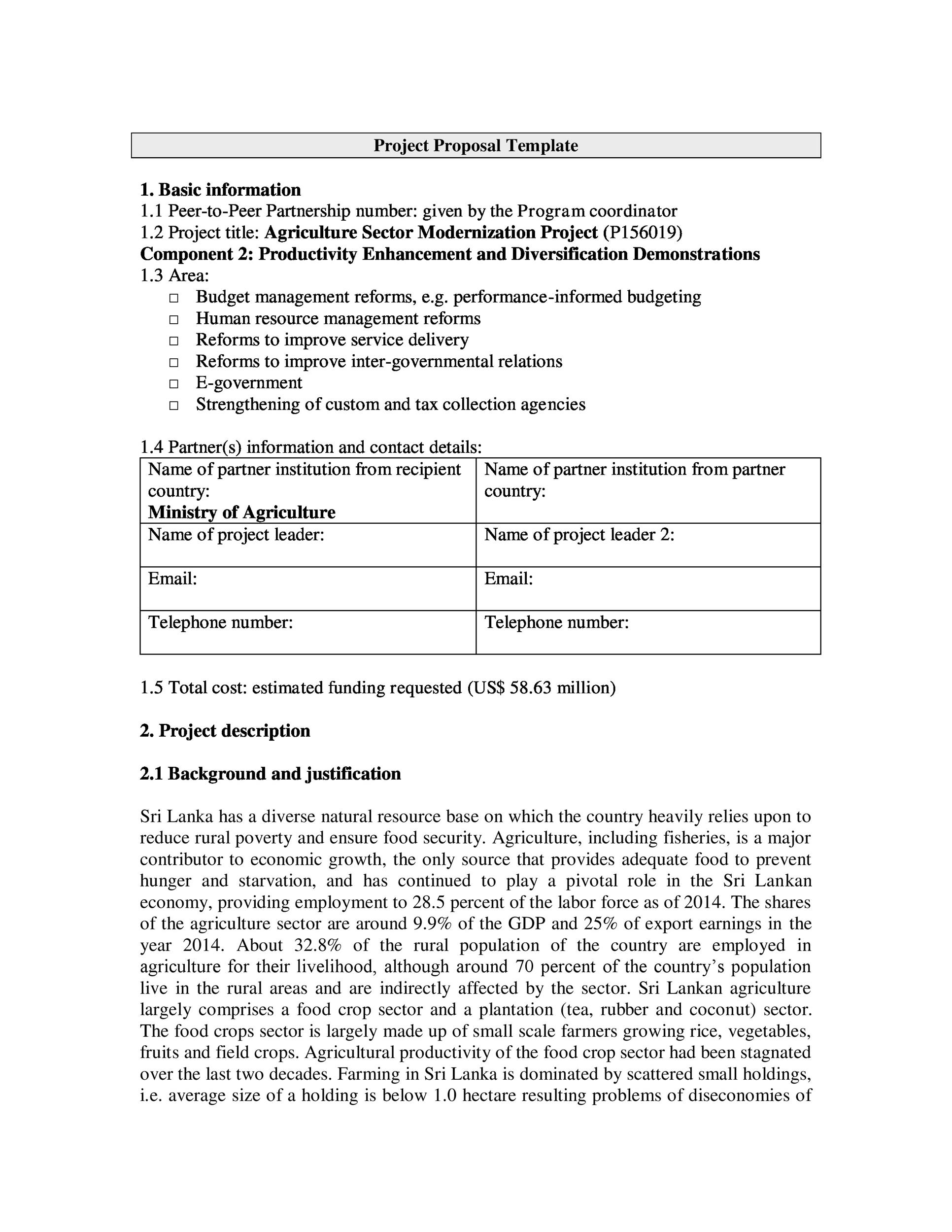 Free Project Proposal Template 39