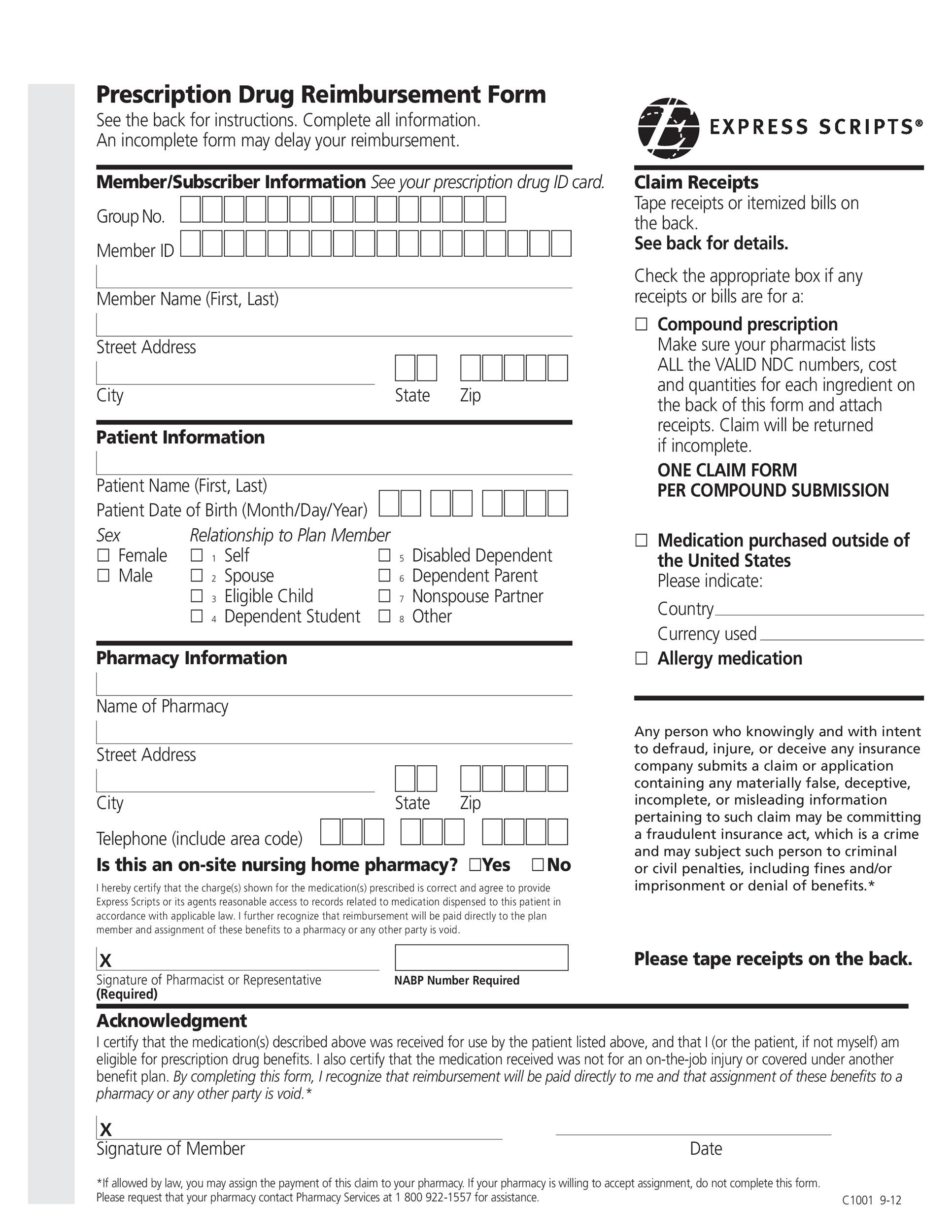 Free reimbursement form 02
