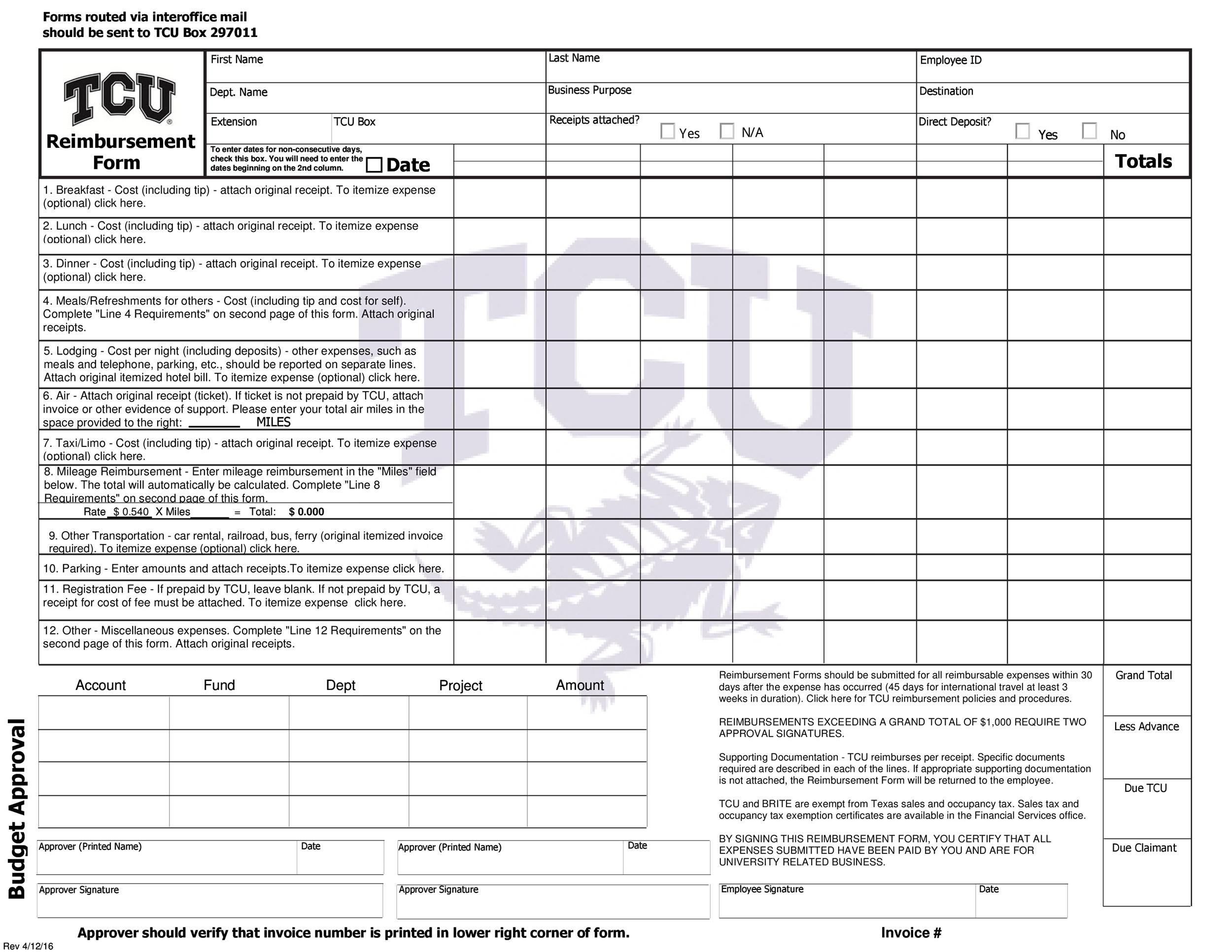 Free reimbursement form 04