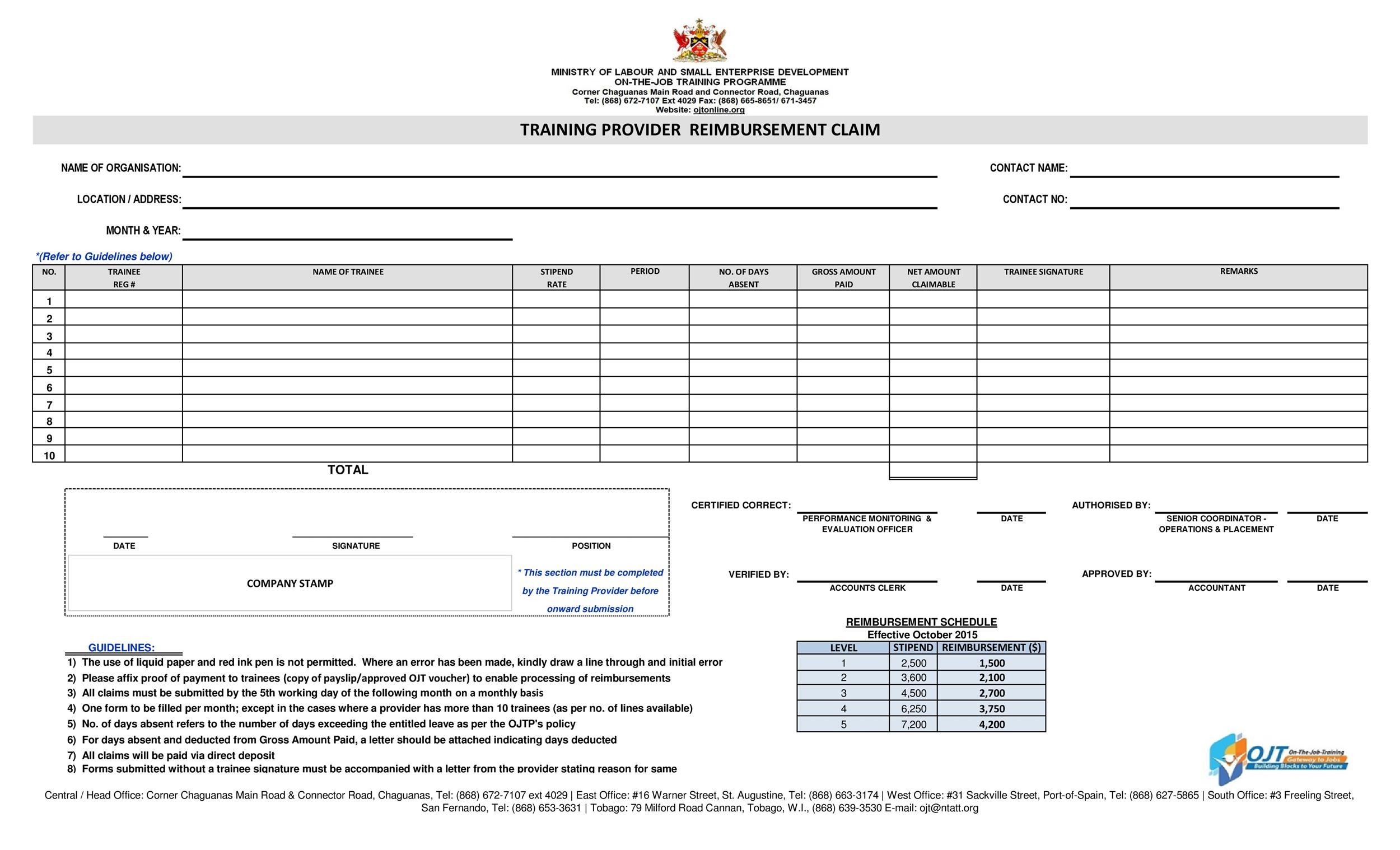 Reimbursement Form Templates Mileage Expense Vsp