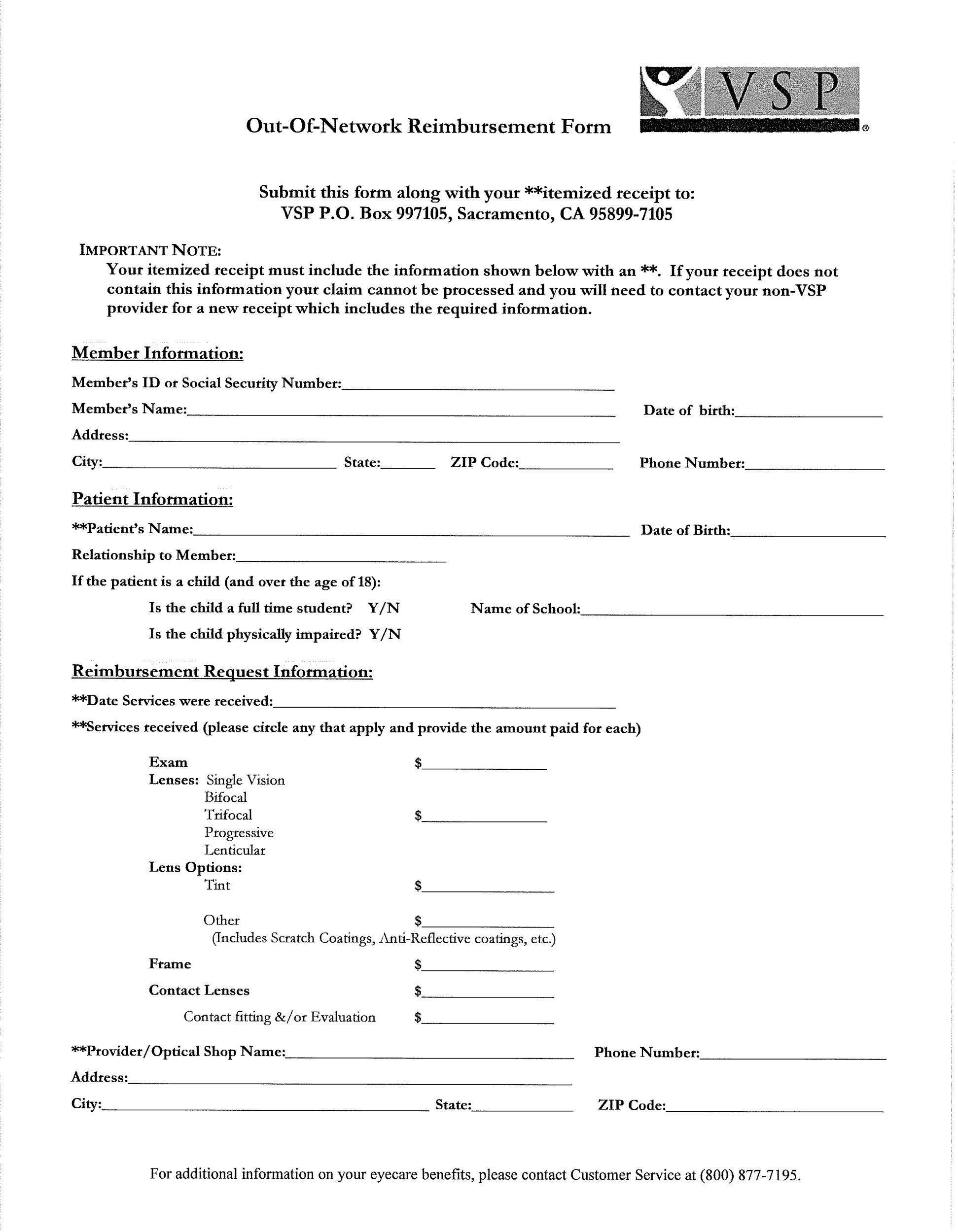 Free reimbursement form 08