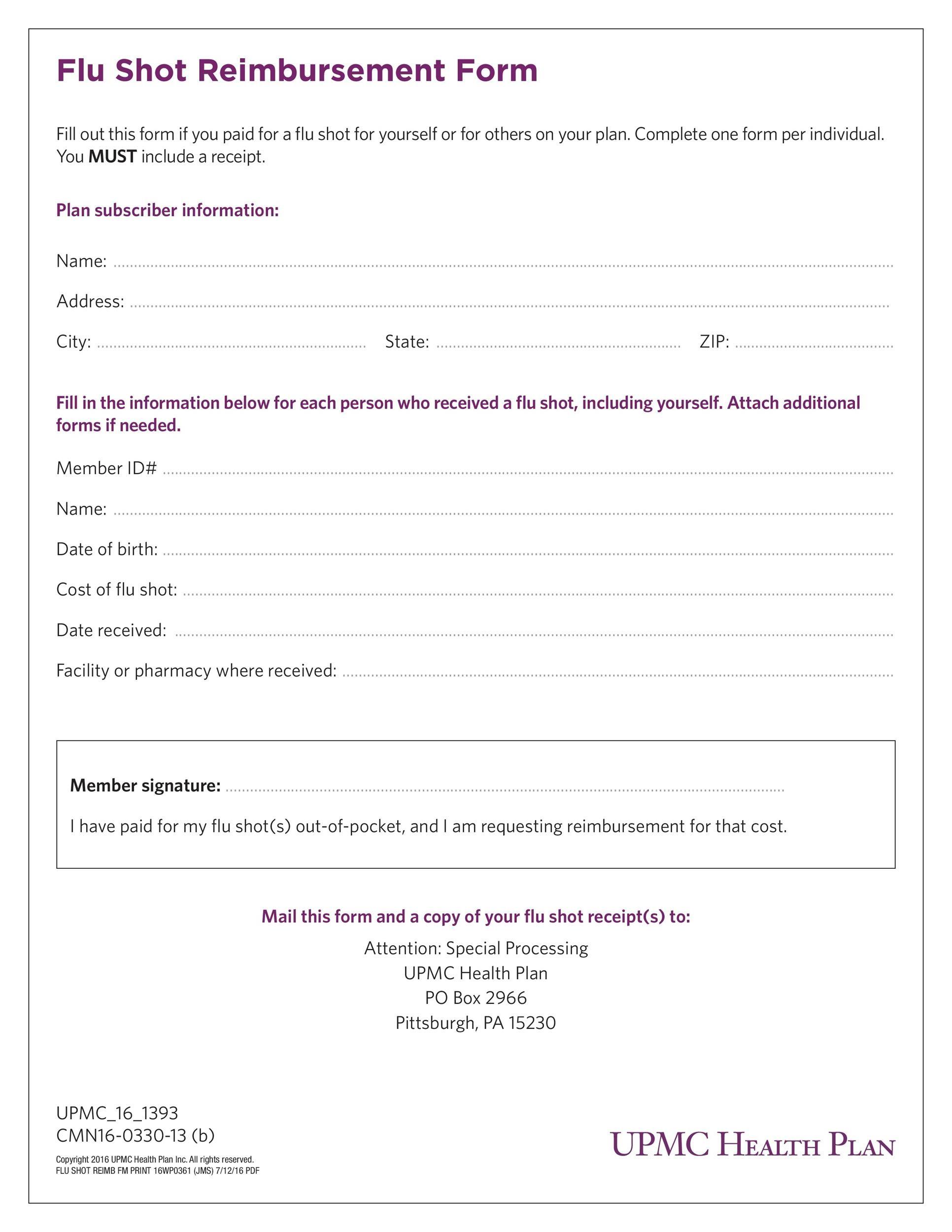 Free reimbursement form 12