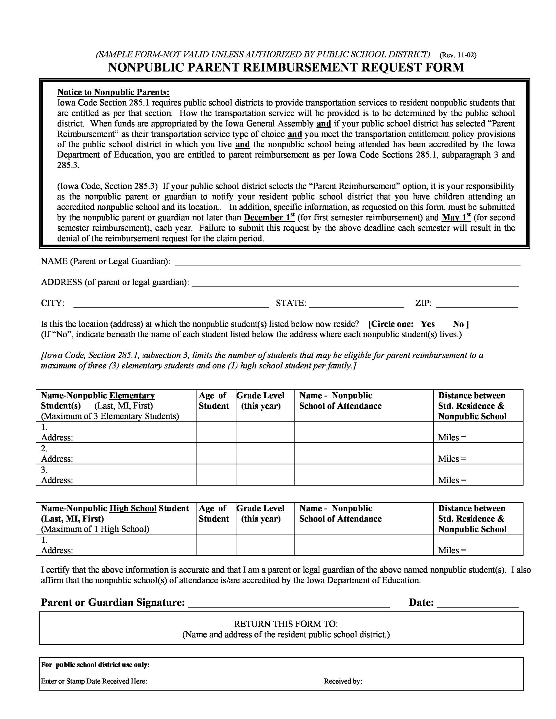 Free reimbursement form 13