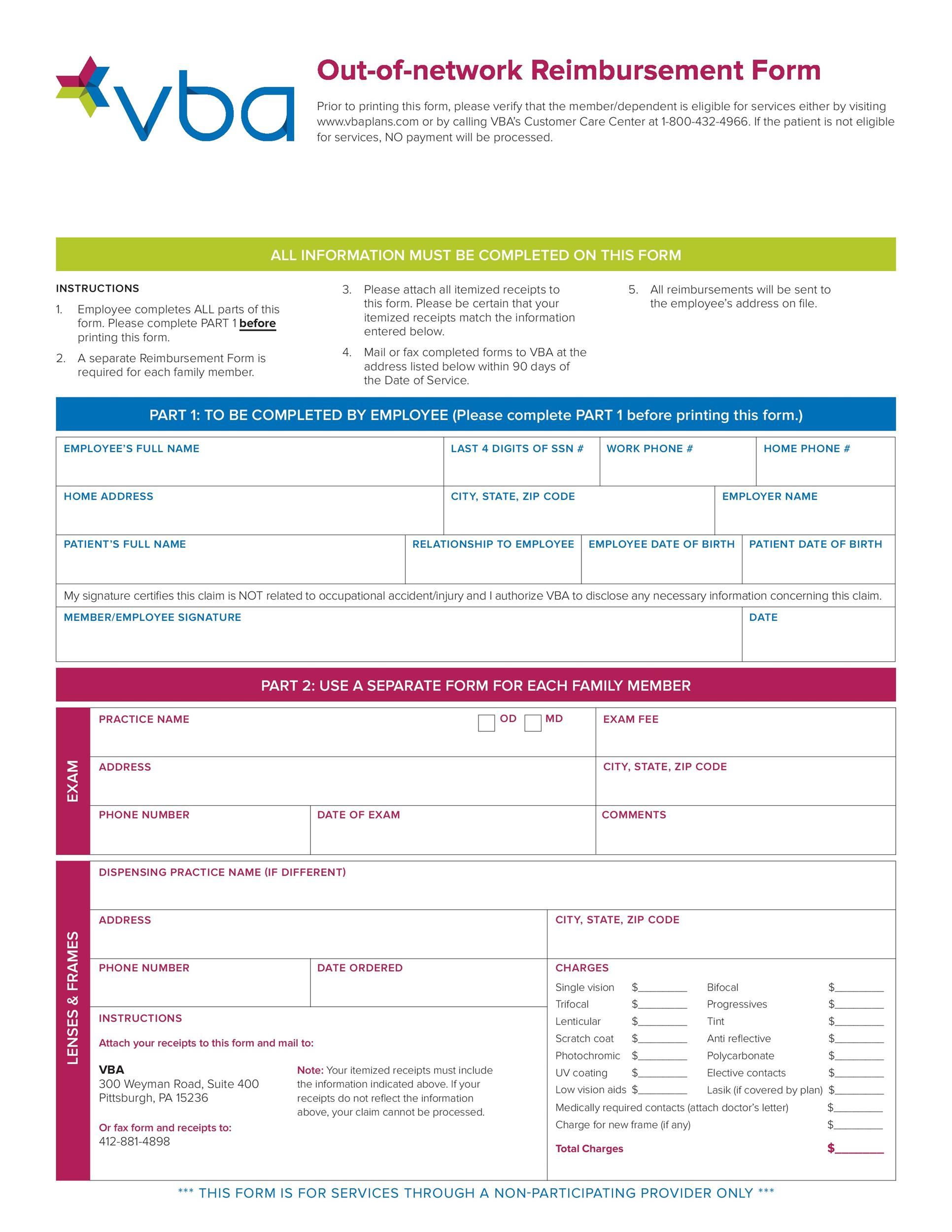 Free reimbursement form 15