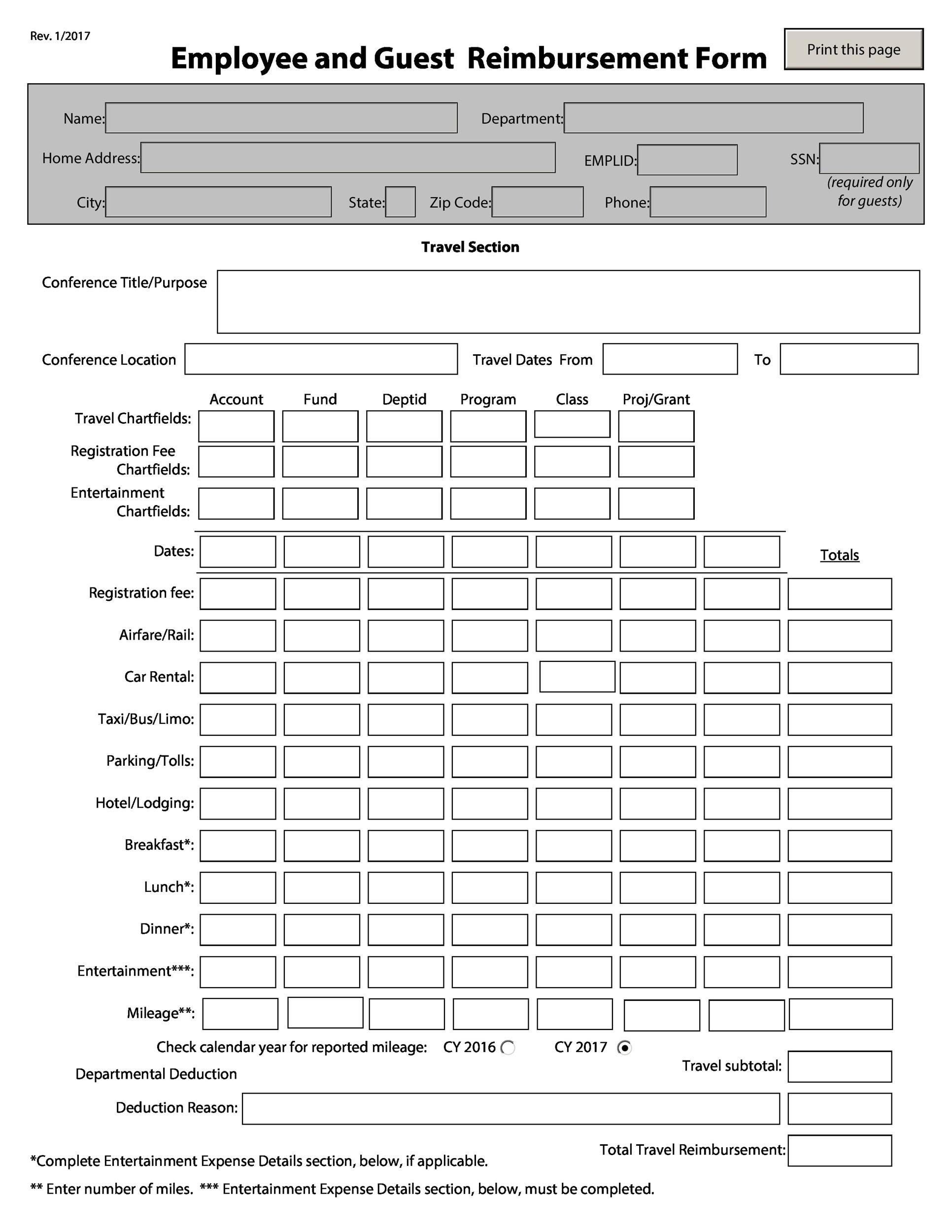 Free reimbursement form 18