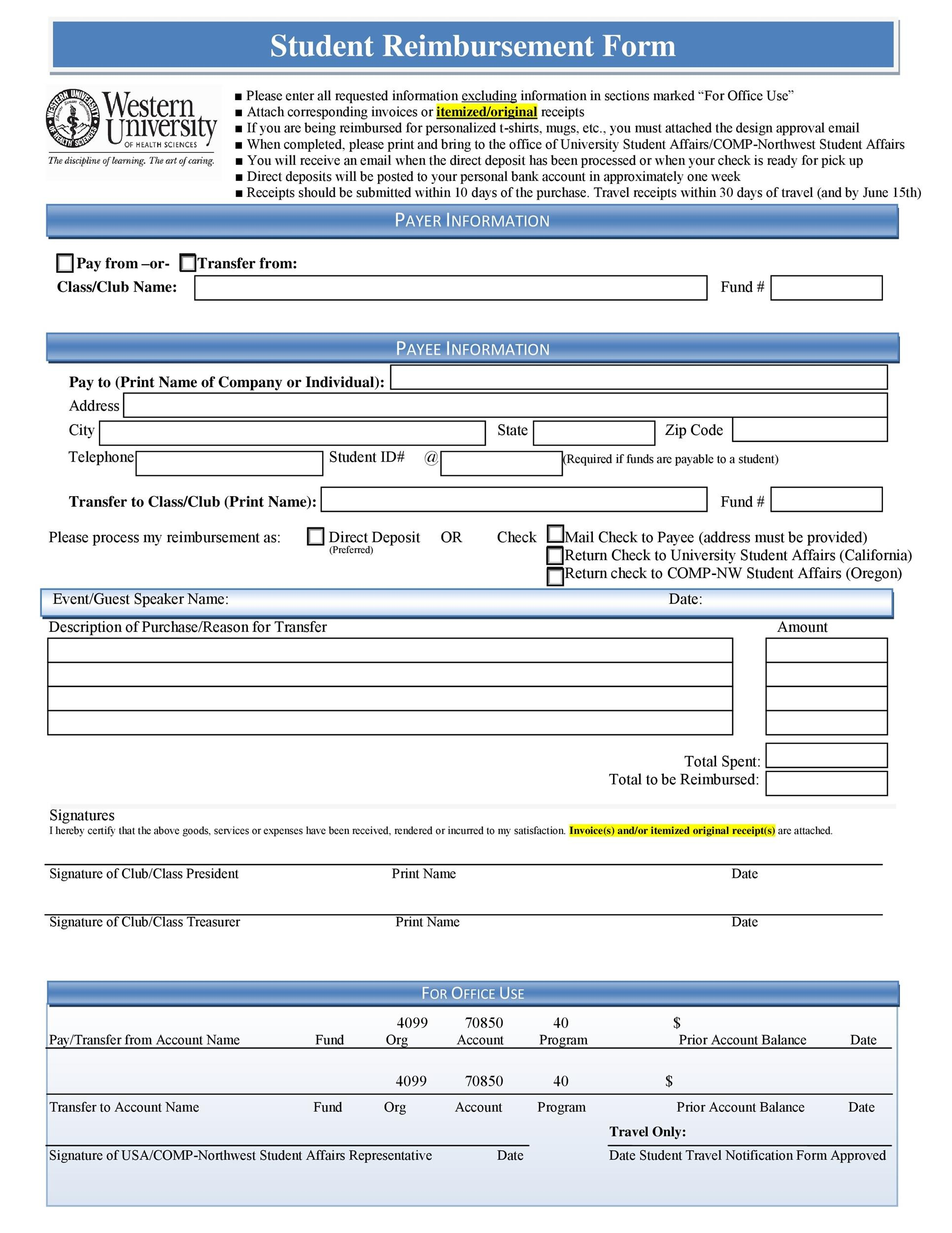 Free reimbursement form 19