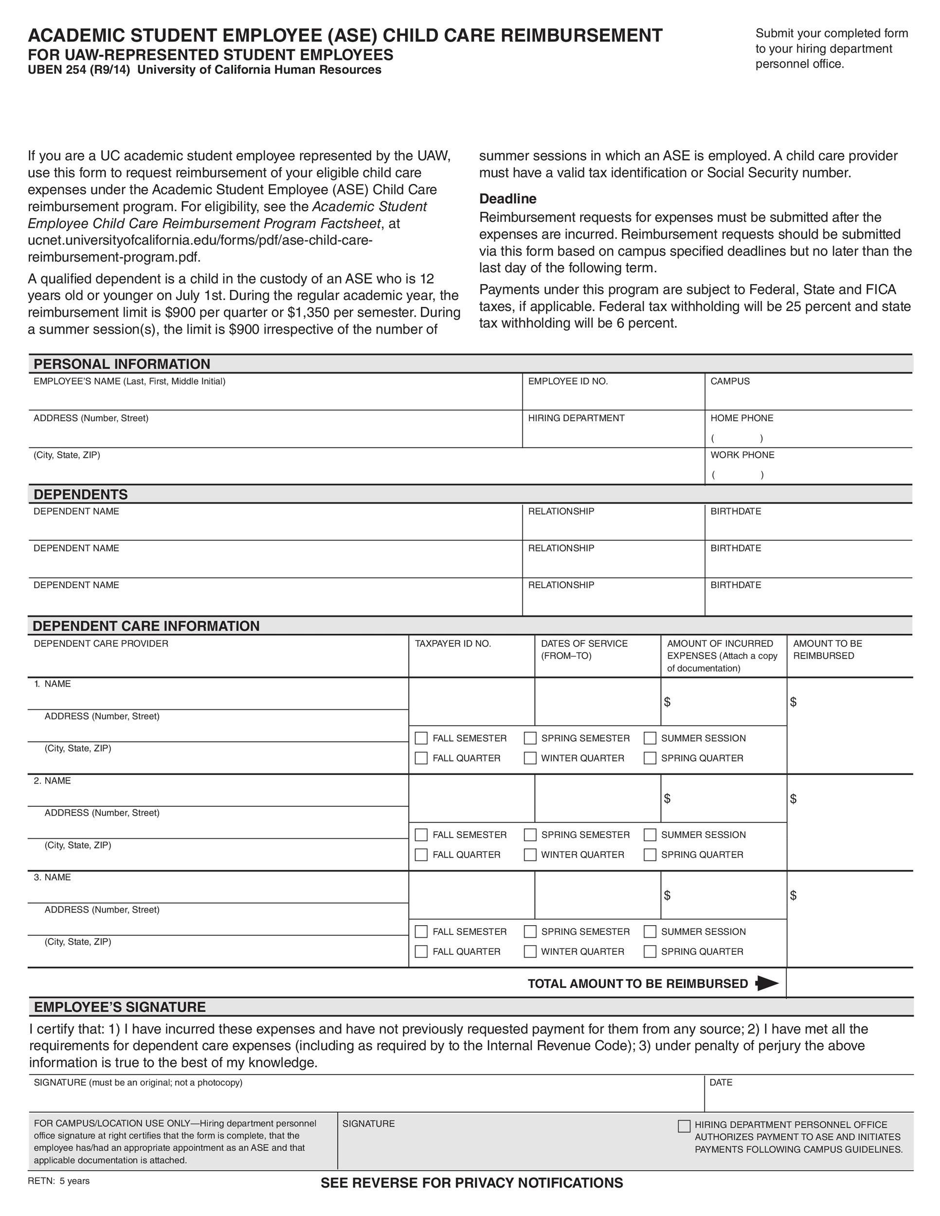 Free reimbursement form 20