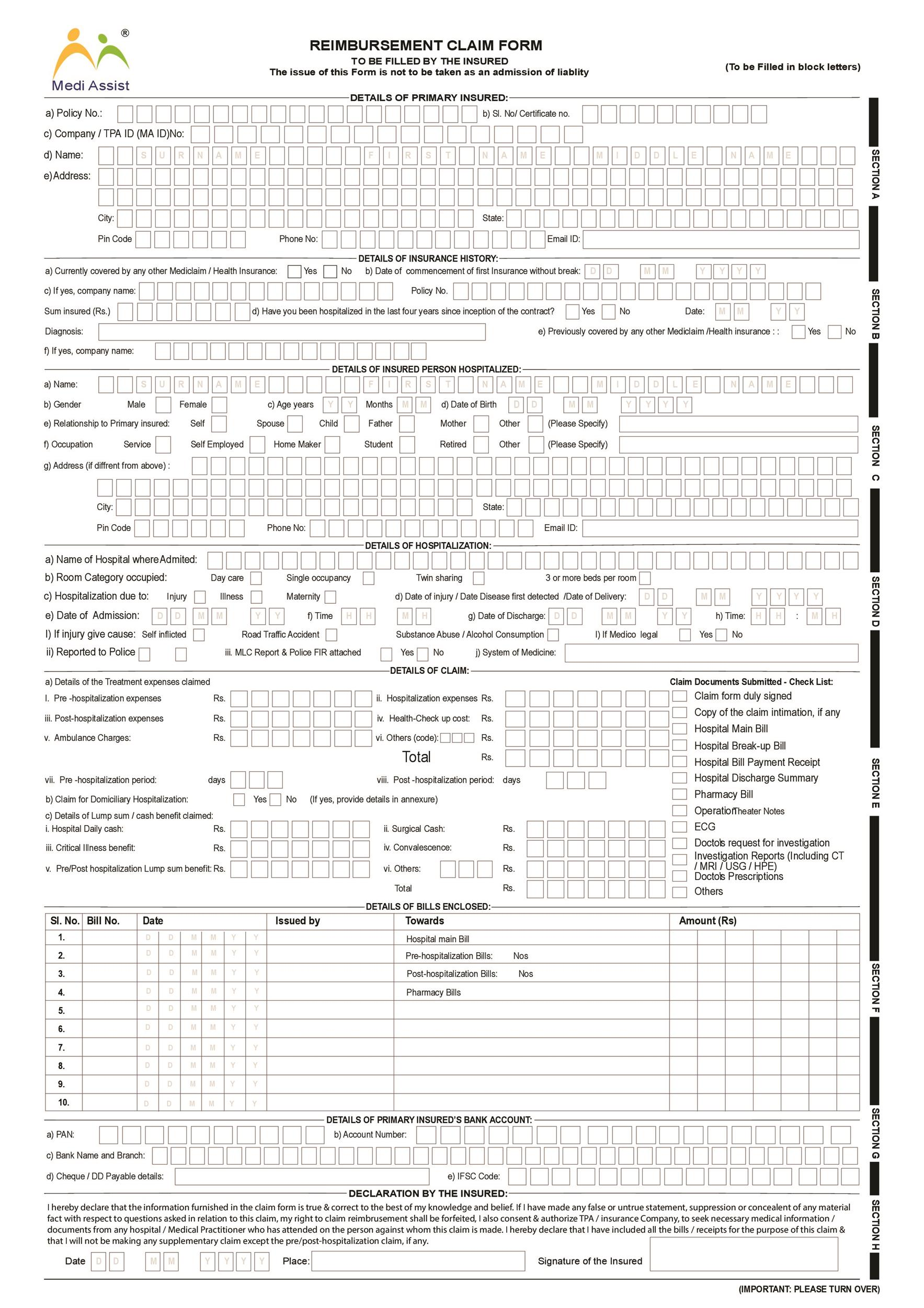 Free reimbursement form 21