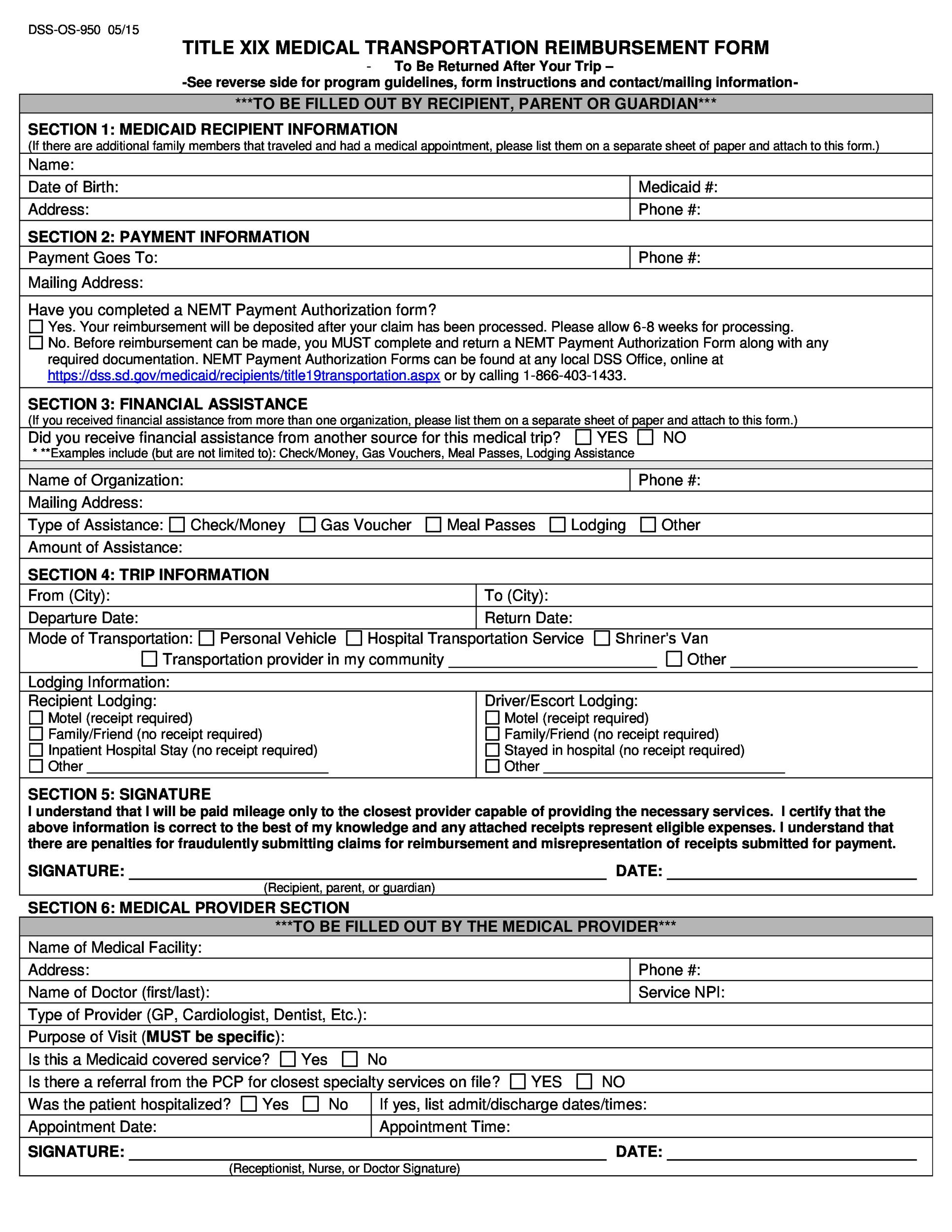 Free reimbursement form 22