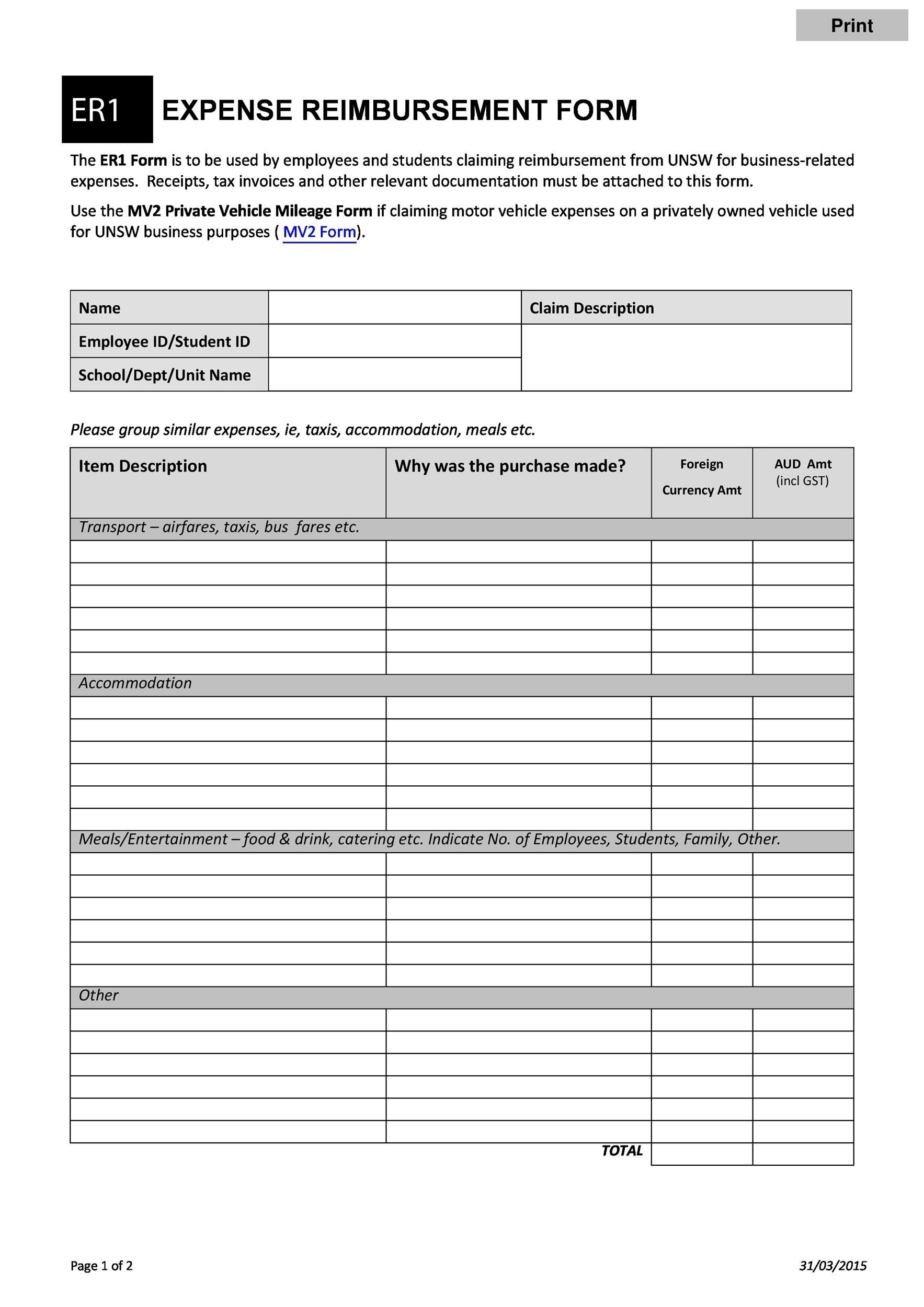 employee reimbursement forms 47 Reimbursement Form Templates [Mileage, Expense, VSP]
