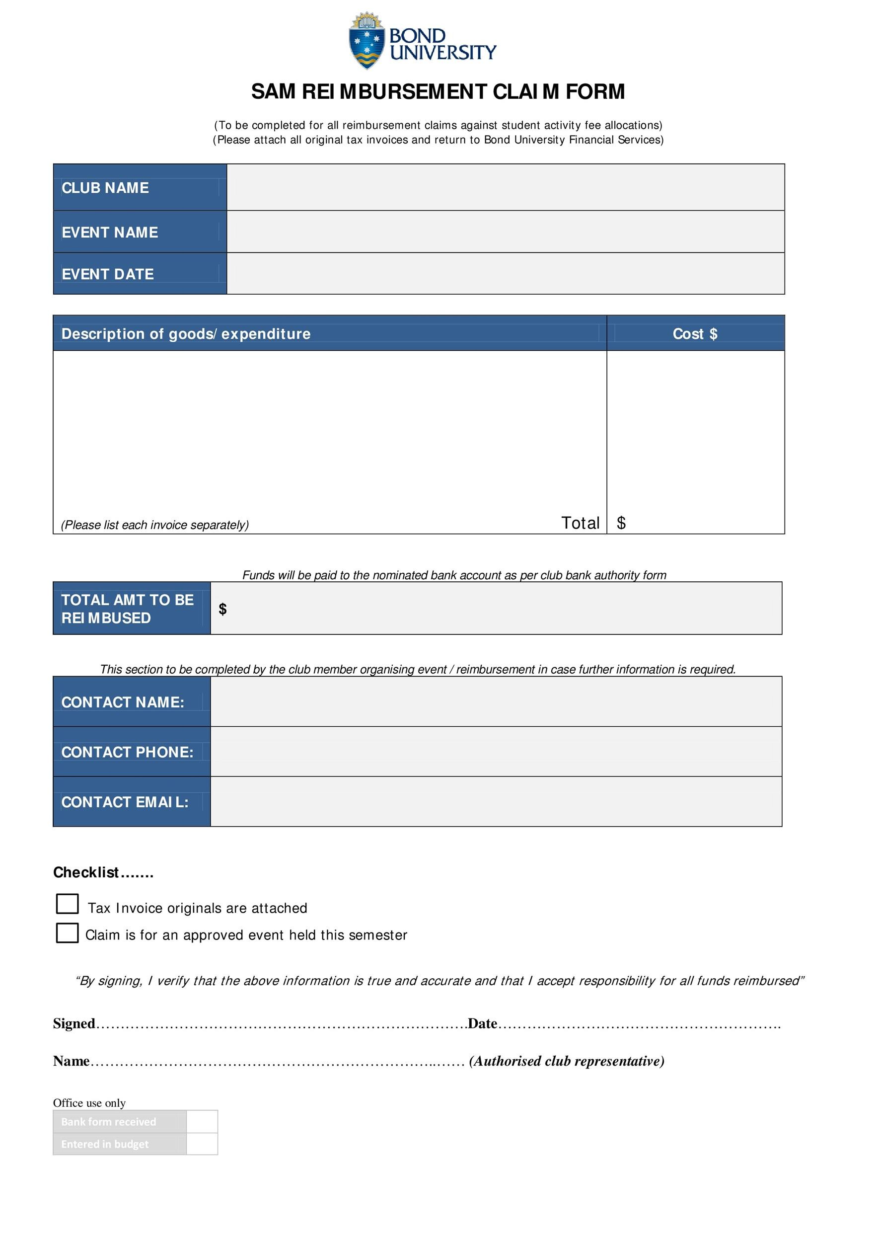 Free reimbursement form 26