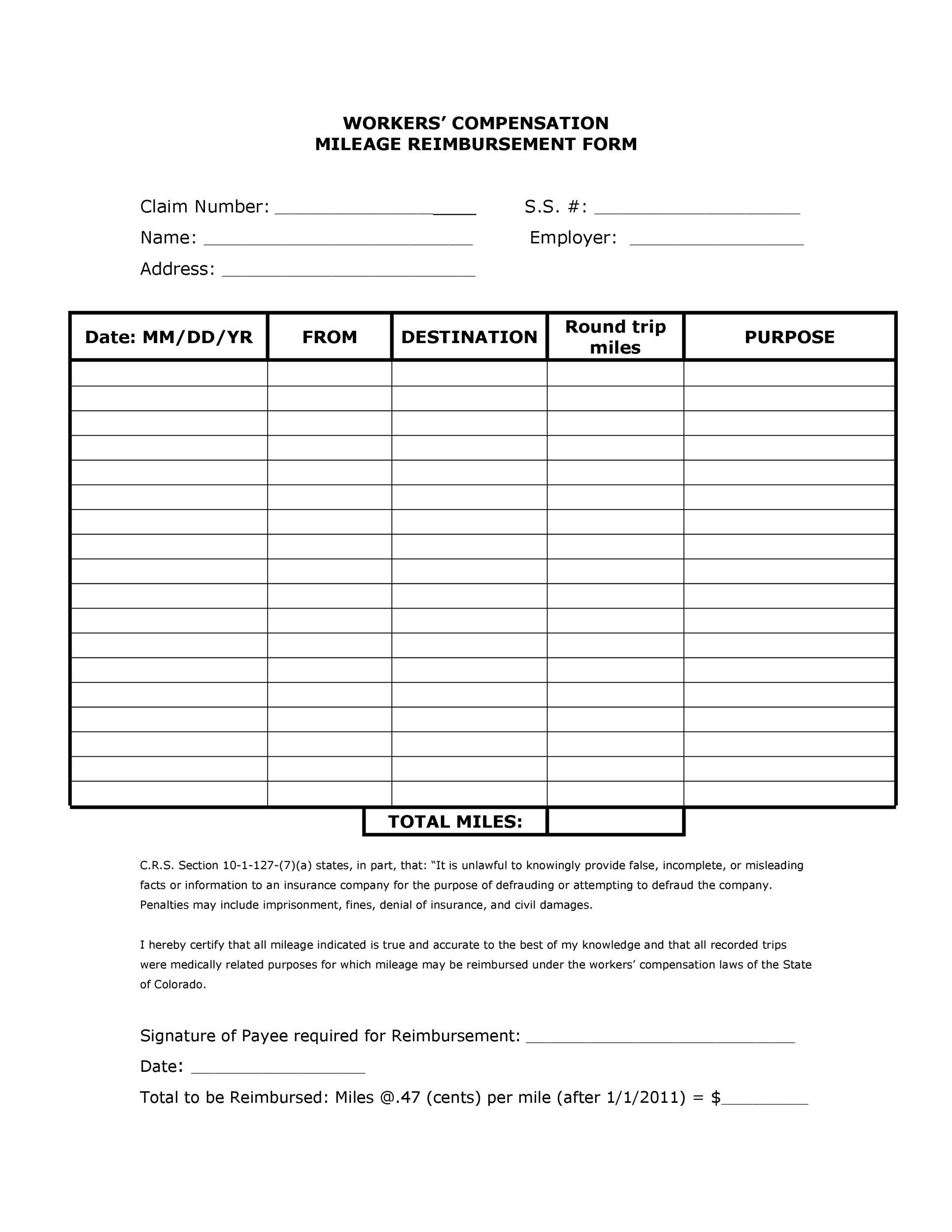 Free reimbursement form 28