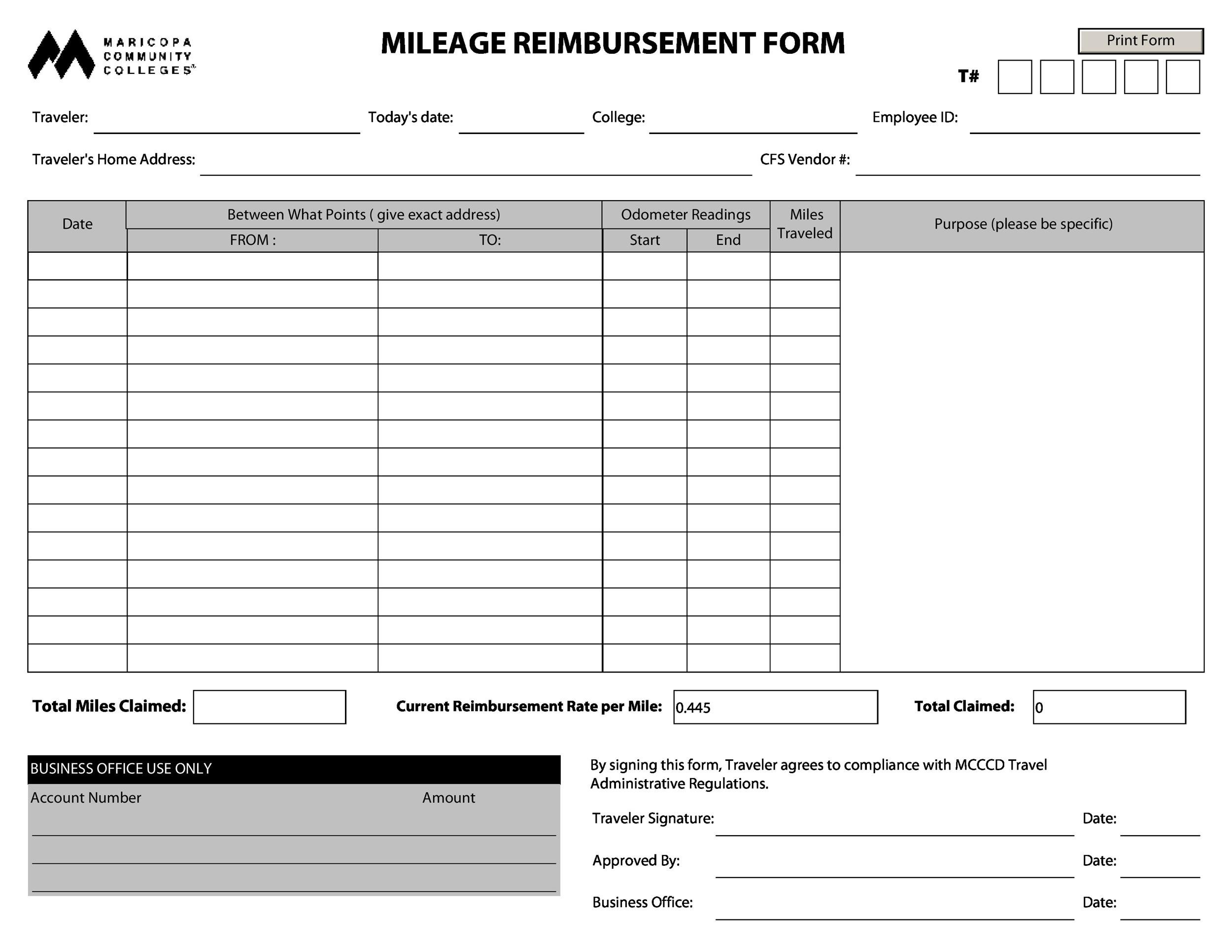 Reimbursement Form Reimbursement Form Templates Mileage Expense Vsp