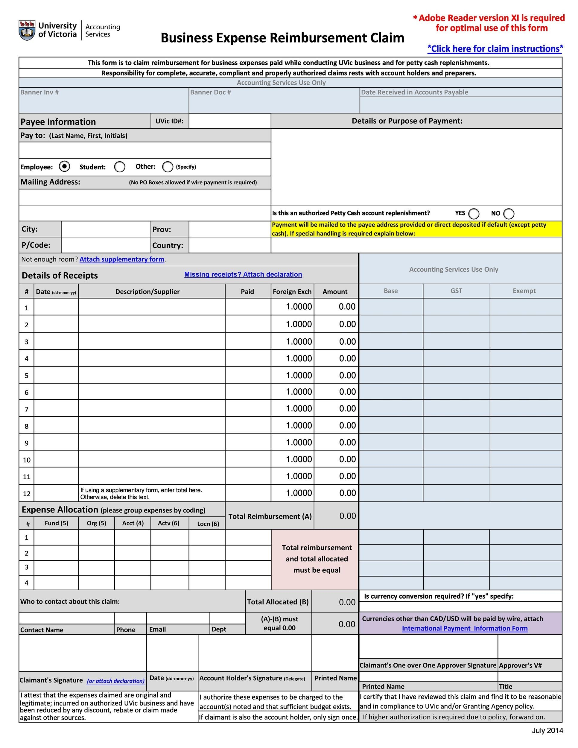 Free reimbursement form 42