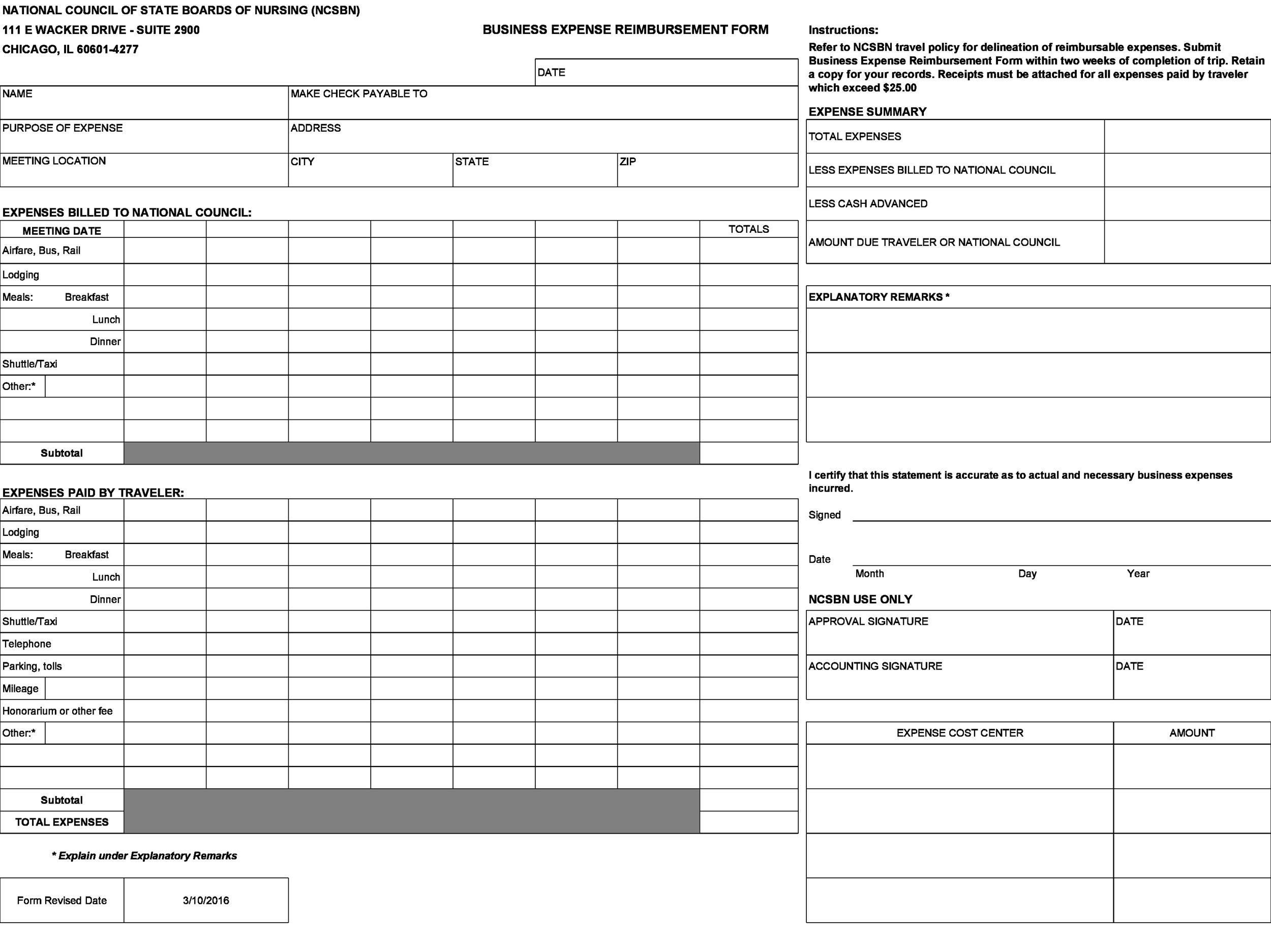 Free reimbursement form 45