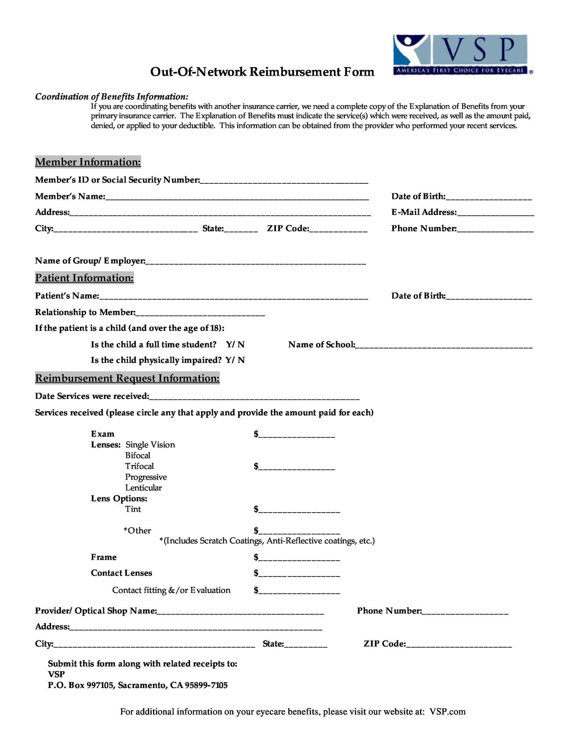 Free reimbursement form 46
