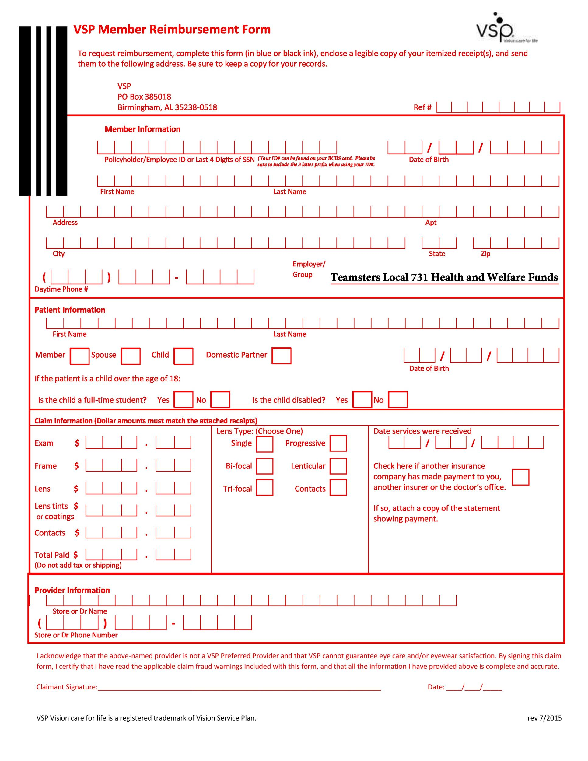 Free reimbursement form 47