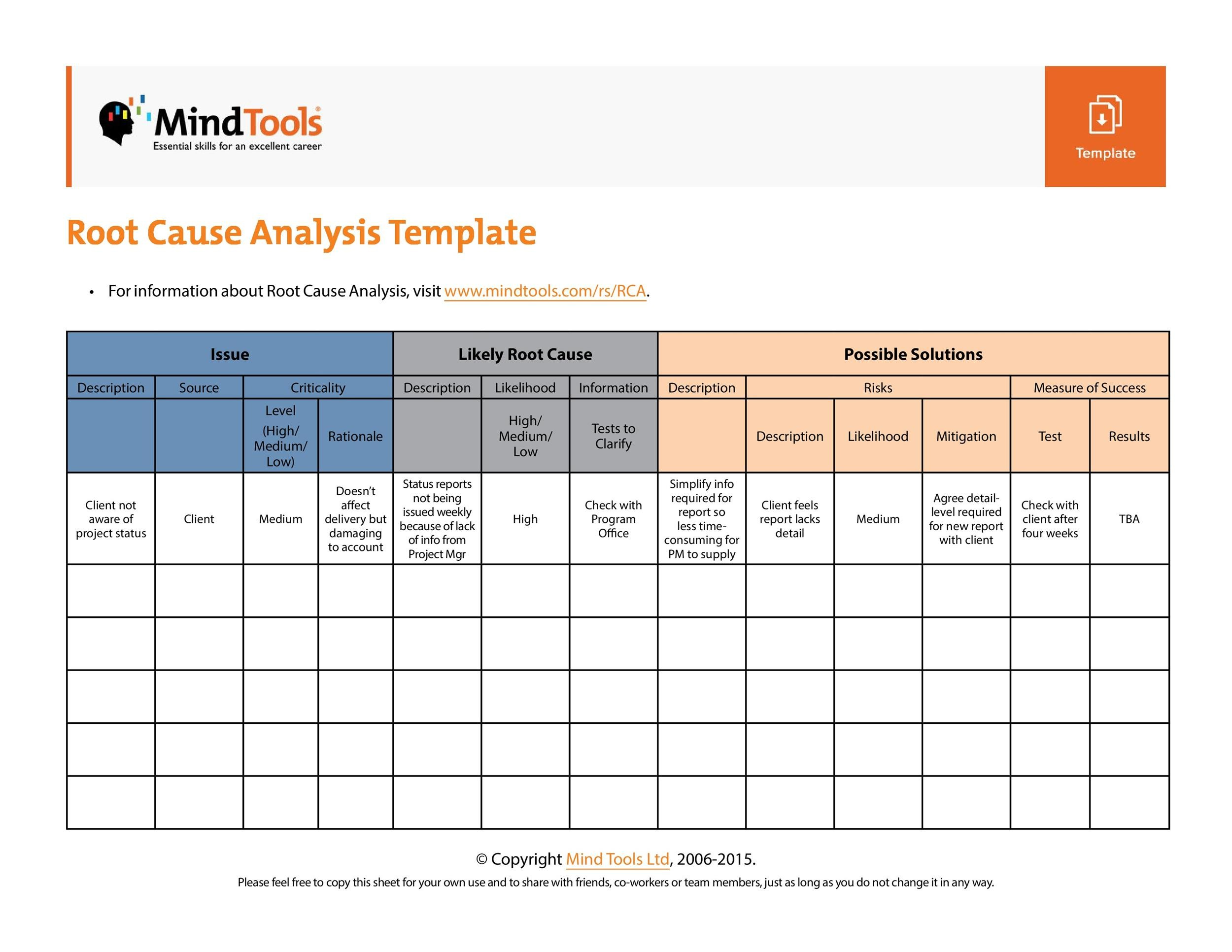 Free Root Cause Analysis Template 01