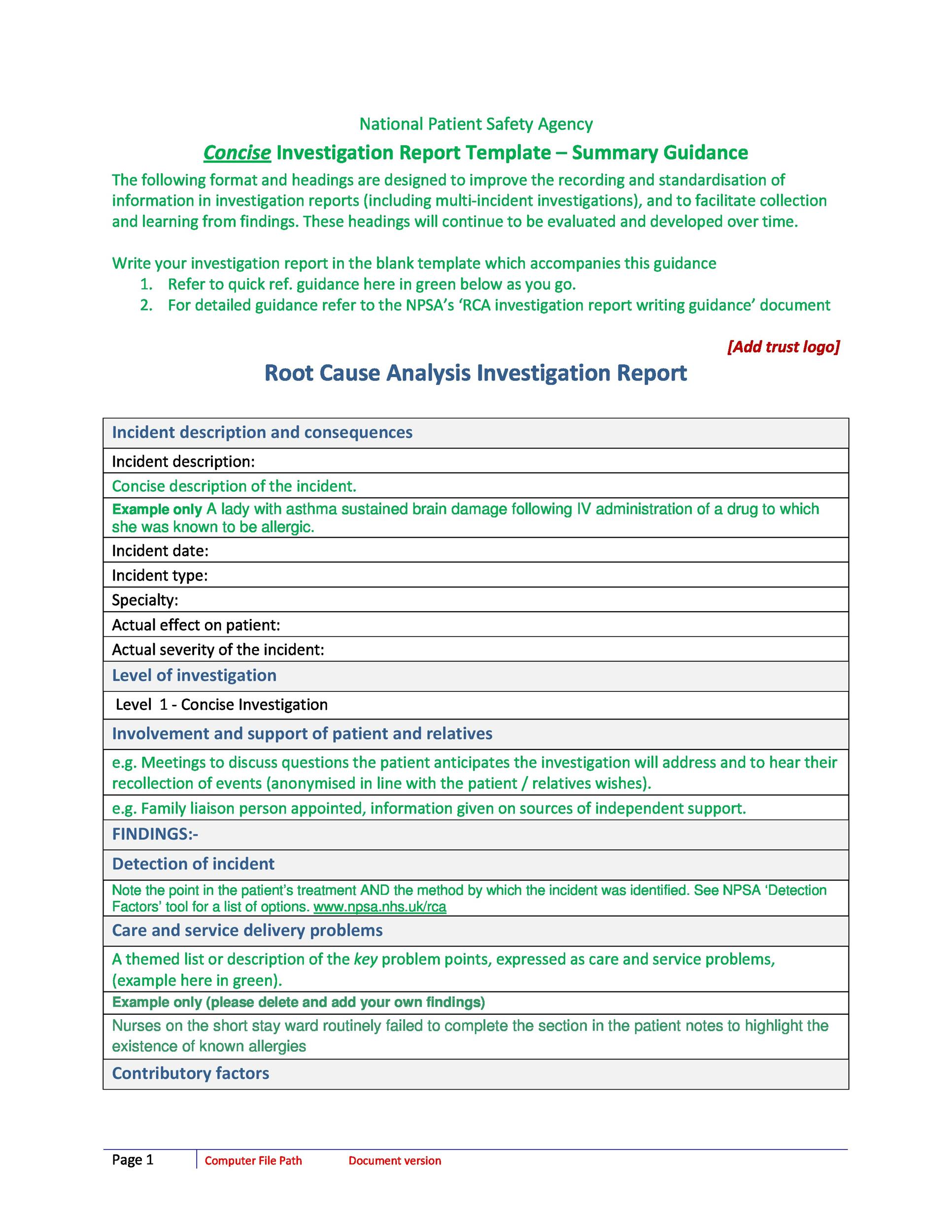 Free Root Cause Analysis Template 20