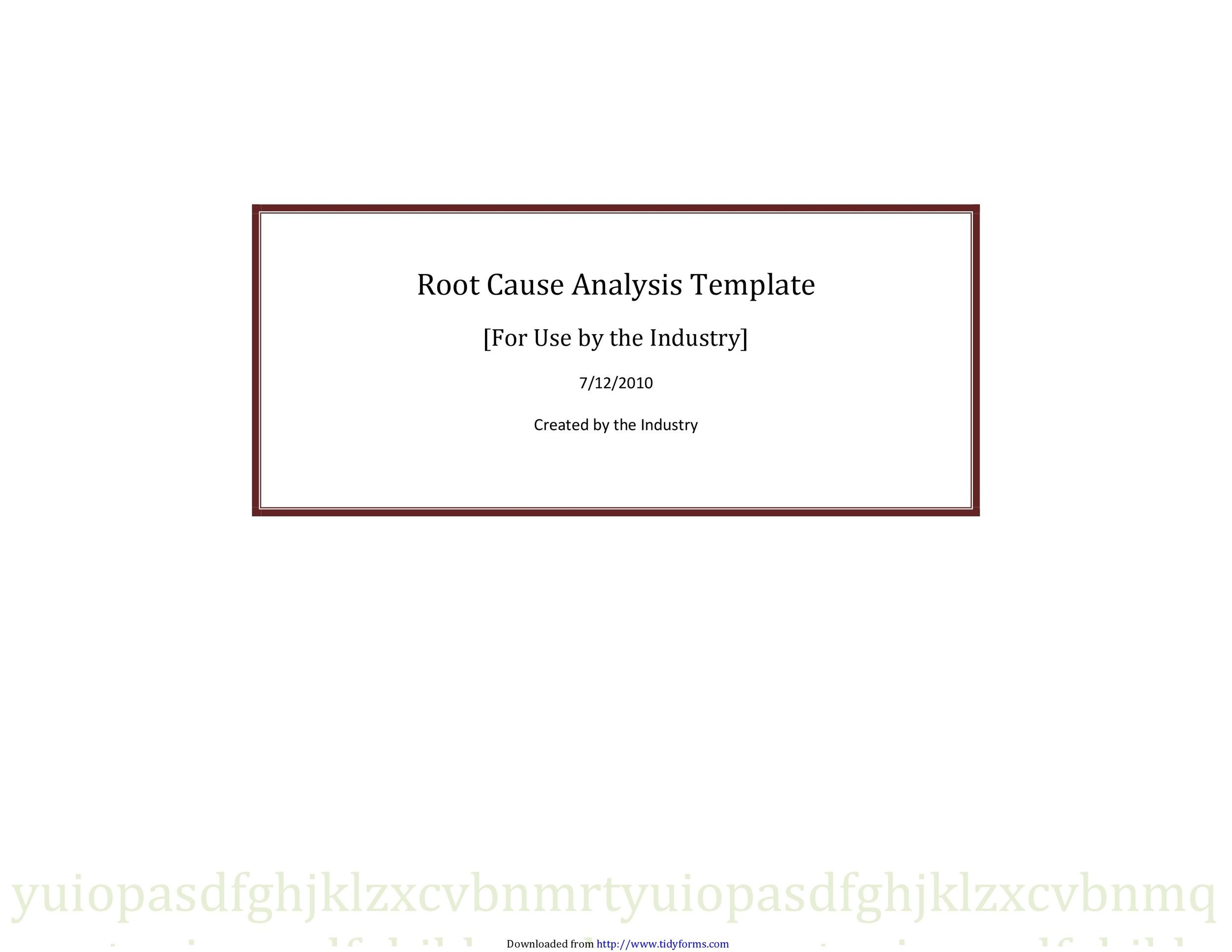 Free Root Cause Analysis Template 31