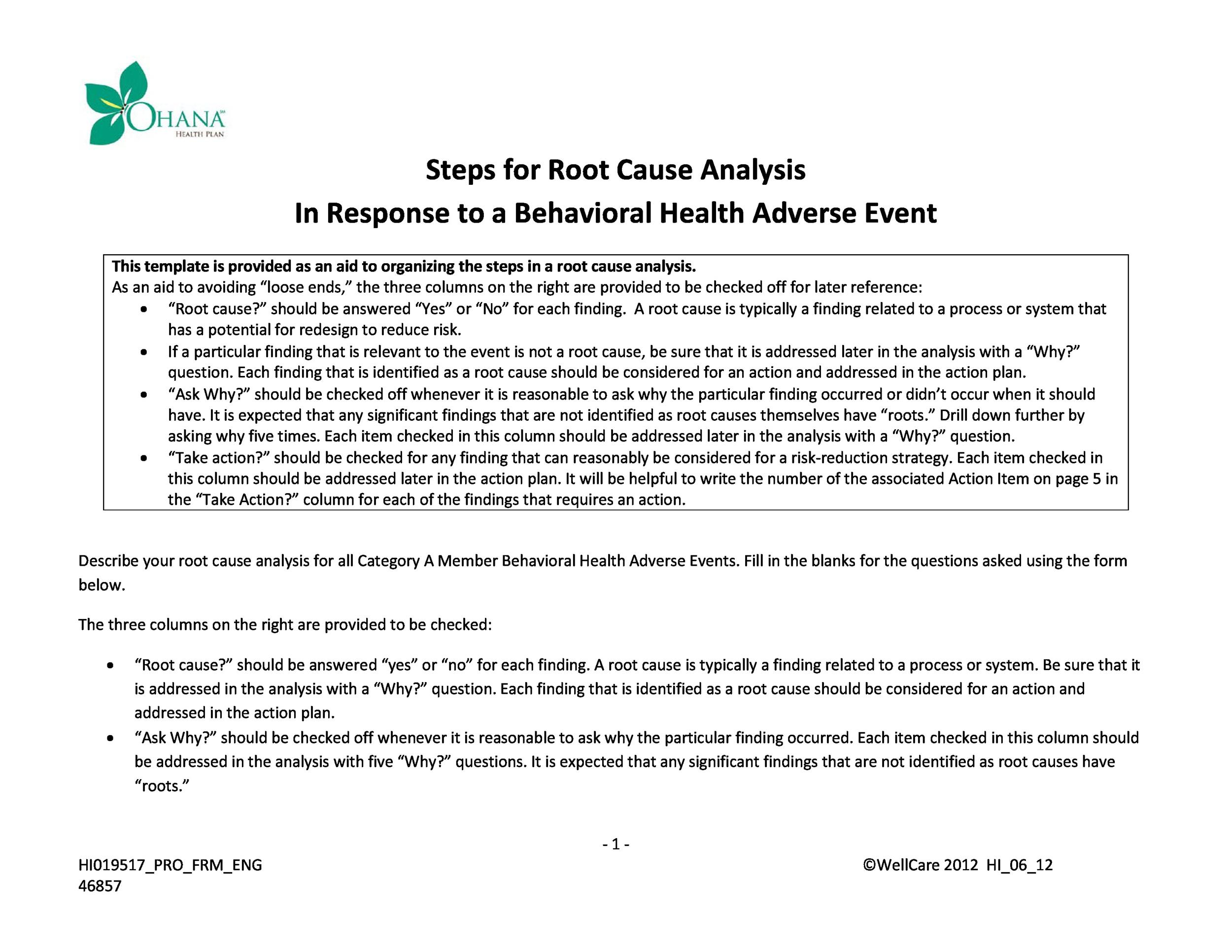 Free Root Cause Analysis Template 35