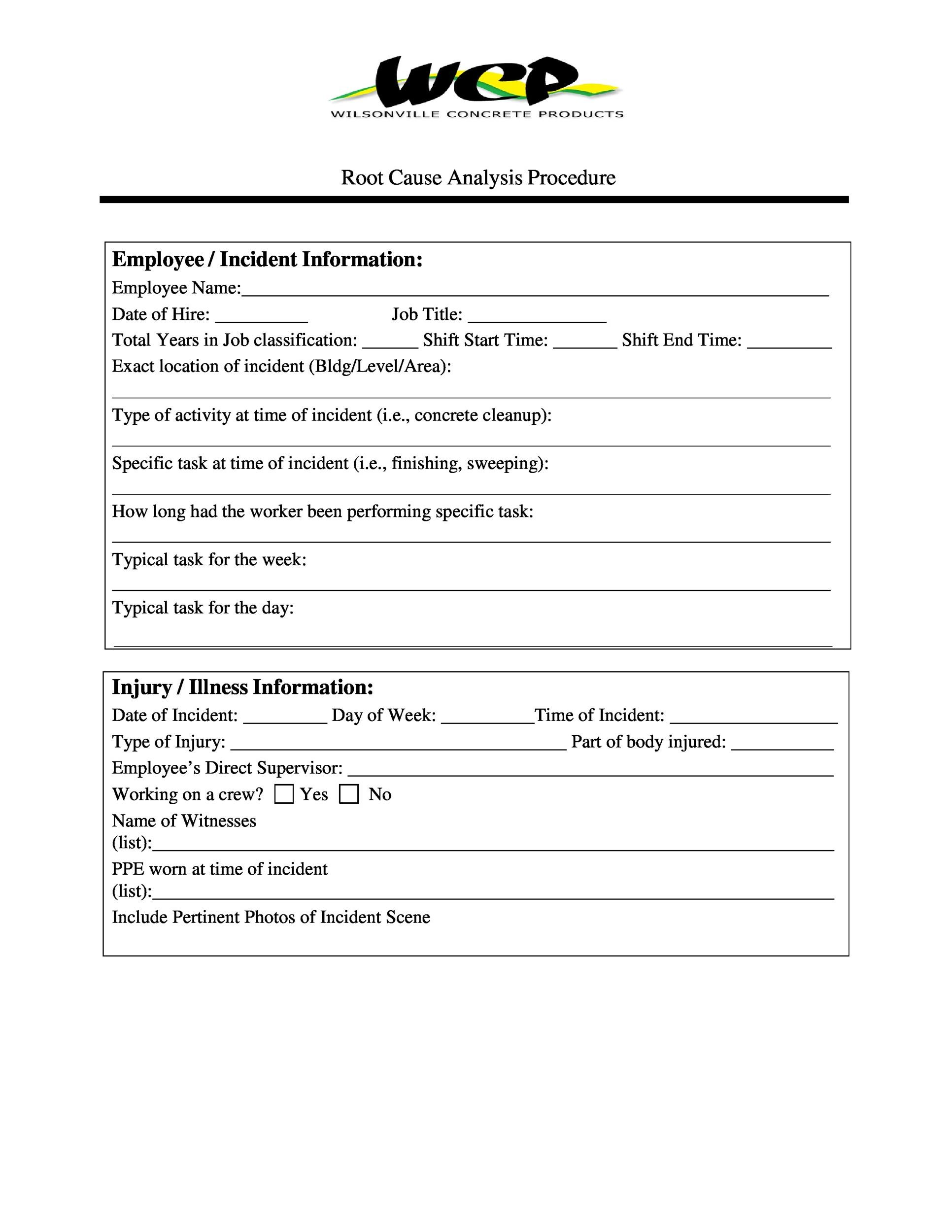 Free Root Cause Analysis Template 41