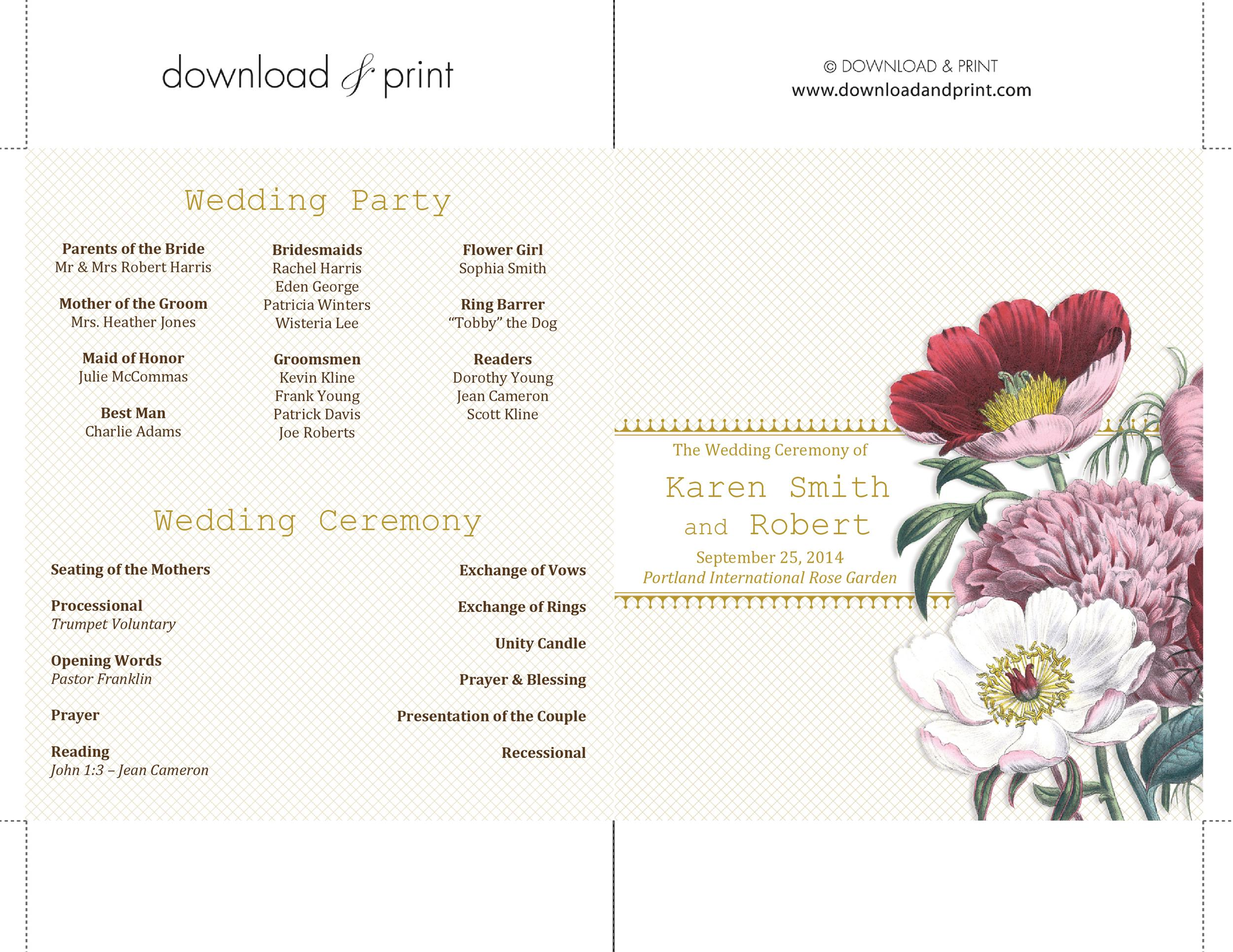 Free Wedding Program Template 05