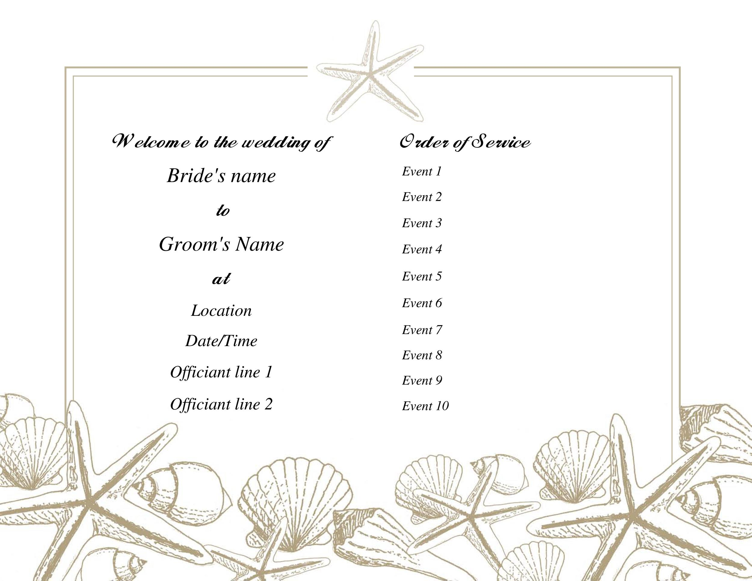Free Wedding Program Template 07