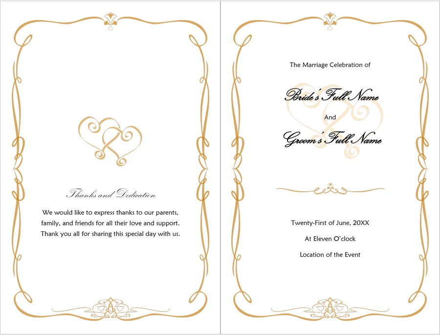 Printable Wedding Program Examples  Templates  Template Lab