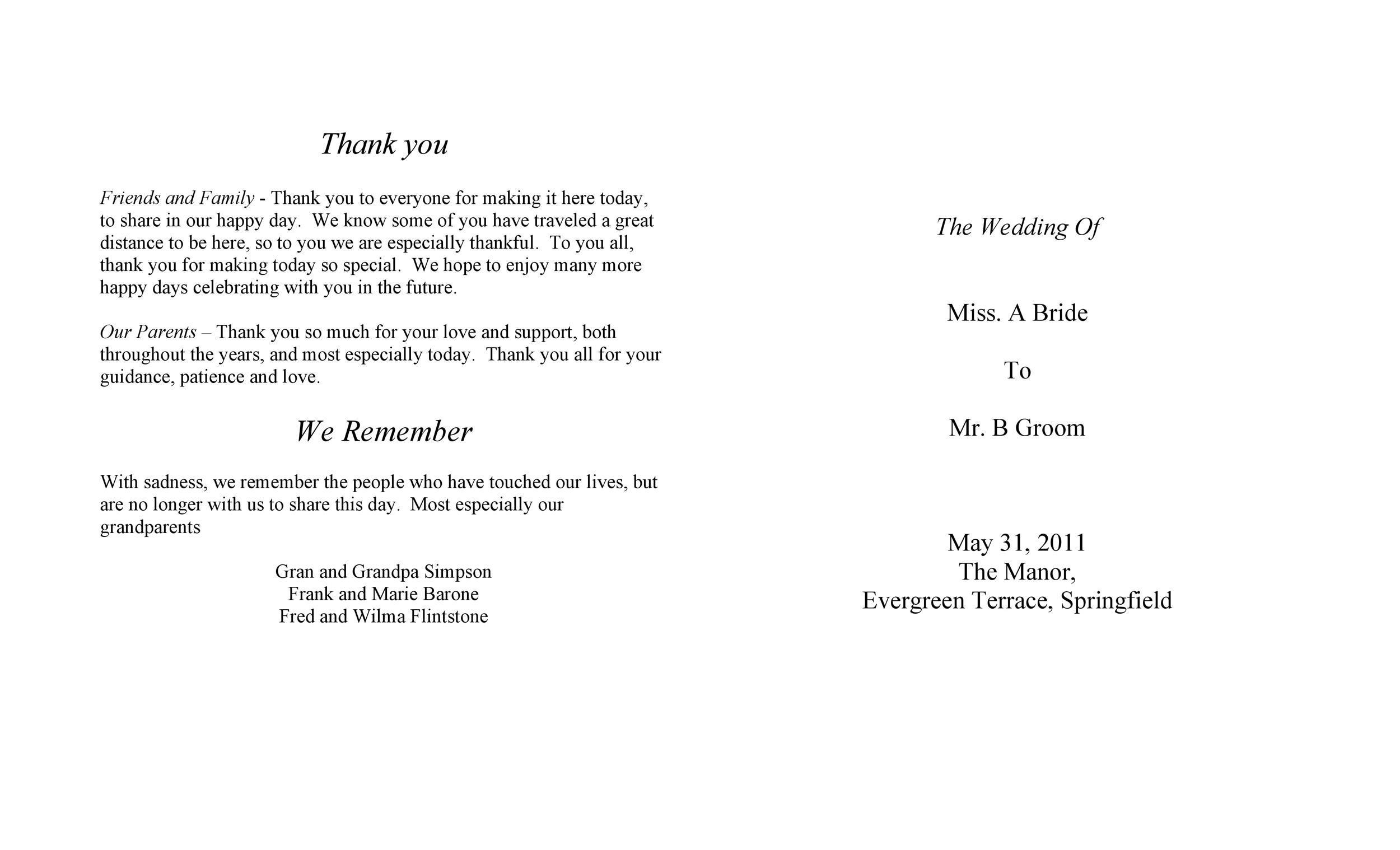 37 Printable Wedding Program Examples Templates Á… Templatelab
