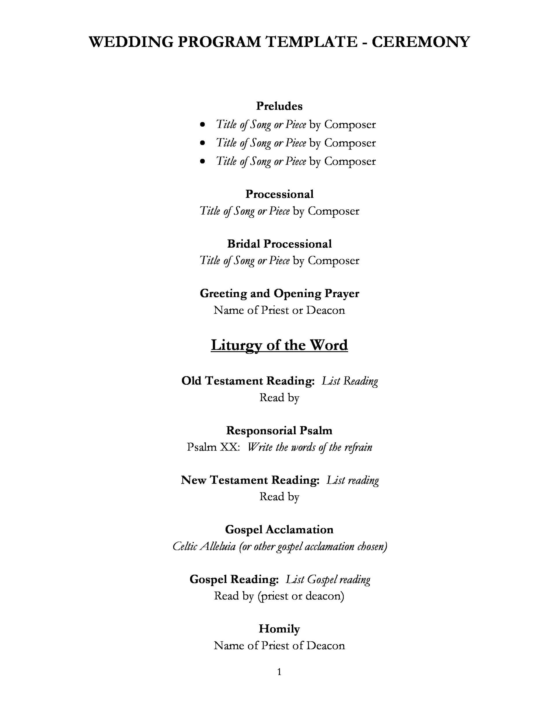 Printable Wedding Program Template 17